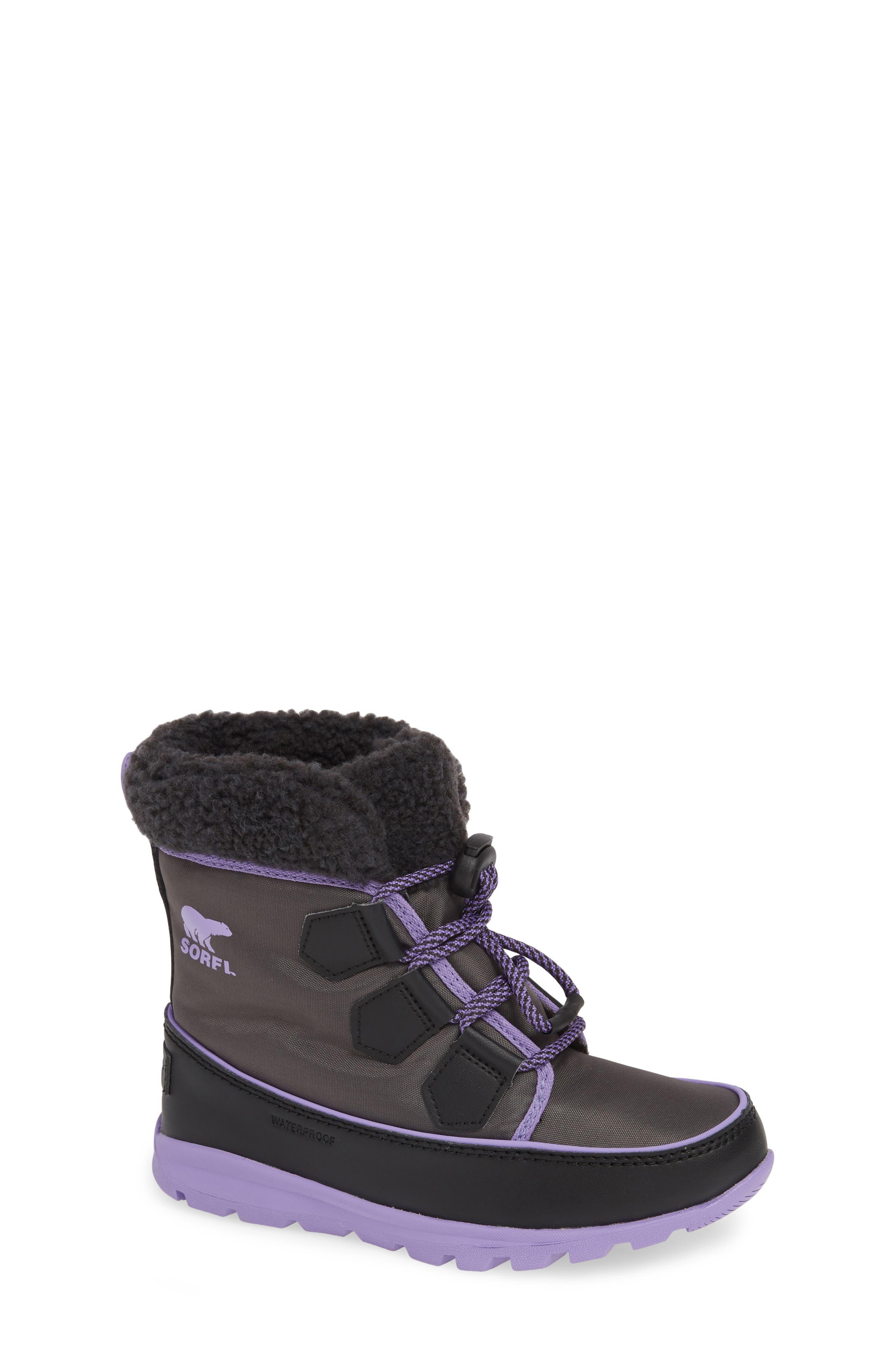 Girls Sorel Whitney Carnival Waterproof Faux Shearling Boot Size 7 M  Grey
