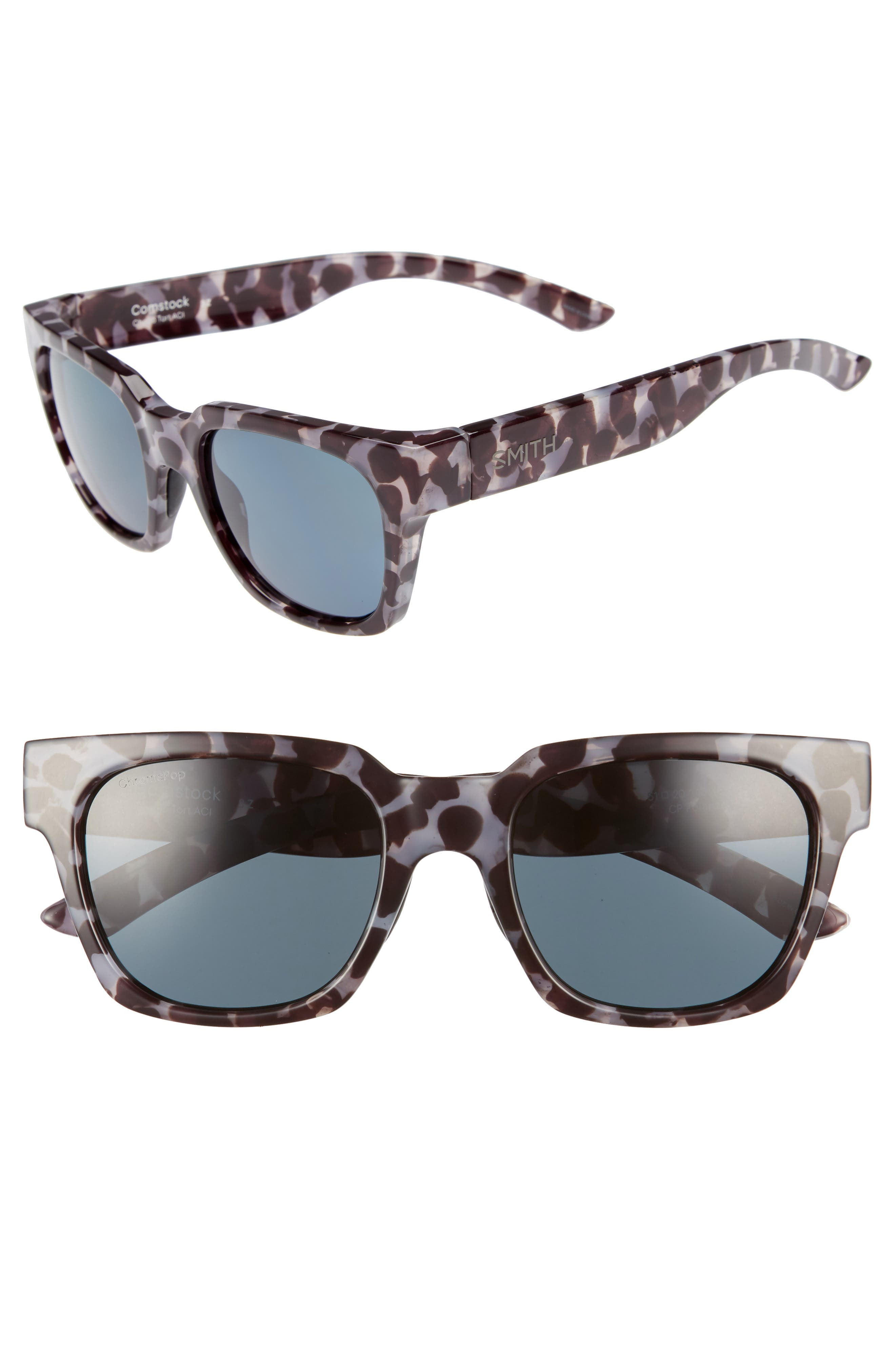 'Comstock' 52mm Rectangular Sunglasses,                             Main thumbnail 1, color,                             CHOCOLATE TORTOISE