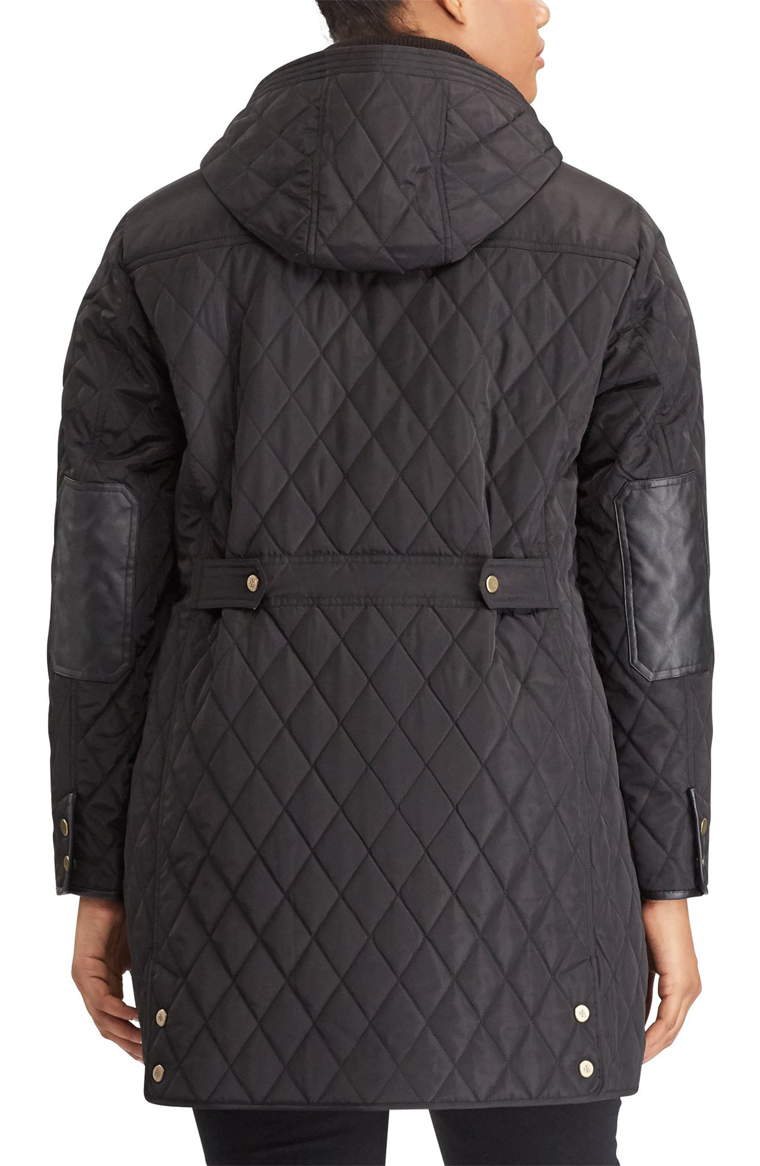 Diamond Quilted Jacket with Faux Leather Trim,                             Alternate thumbnail 2, color,                             001