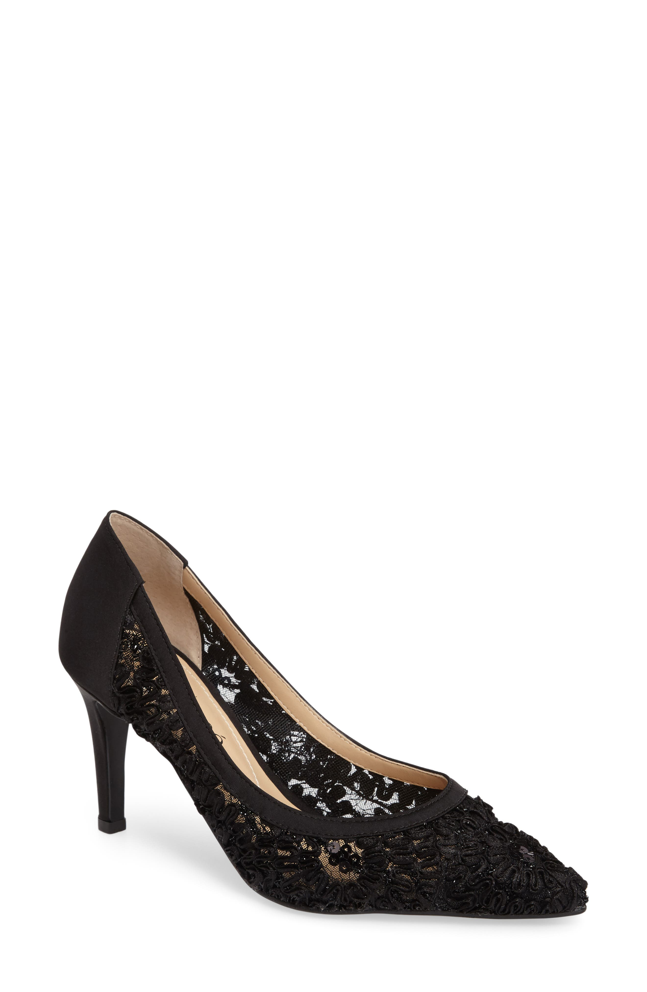Camellia Pointy Toe Pump,                             Main thumbnail 1, color,                             BLACK LACE FABRIC