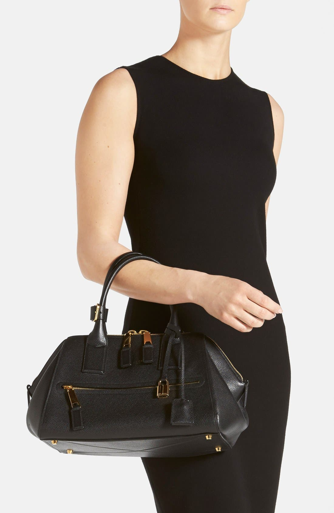 'Small Incognito' Leather Satchel,                             Alternate thumbnail 6, color,                             001