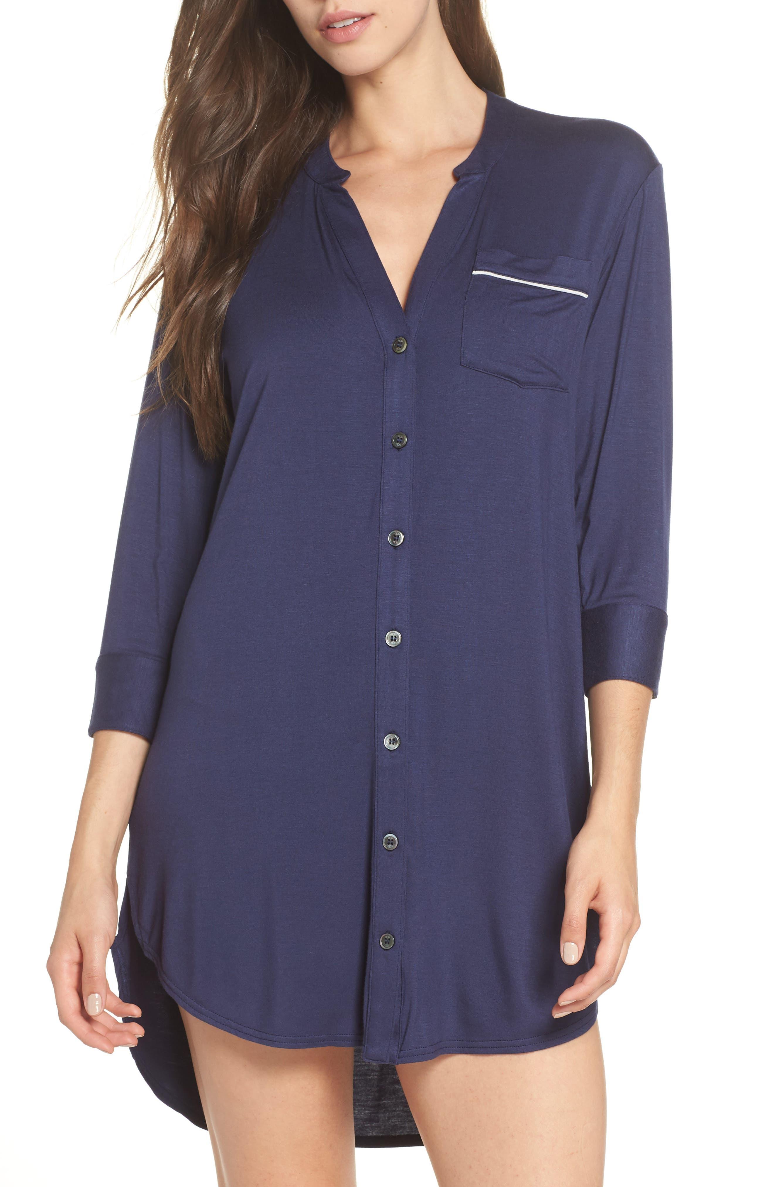Vivian Sleep Shirt,                             Main thumbnail 1, color,                             NAVY