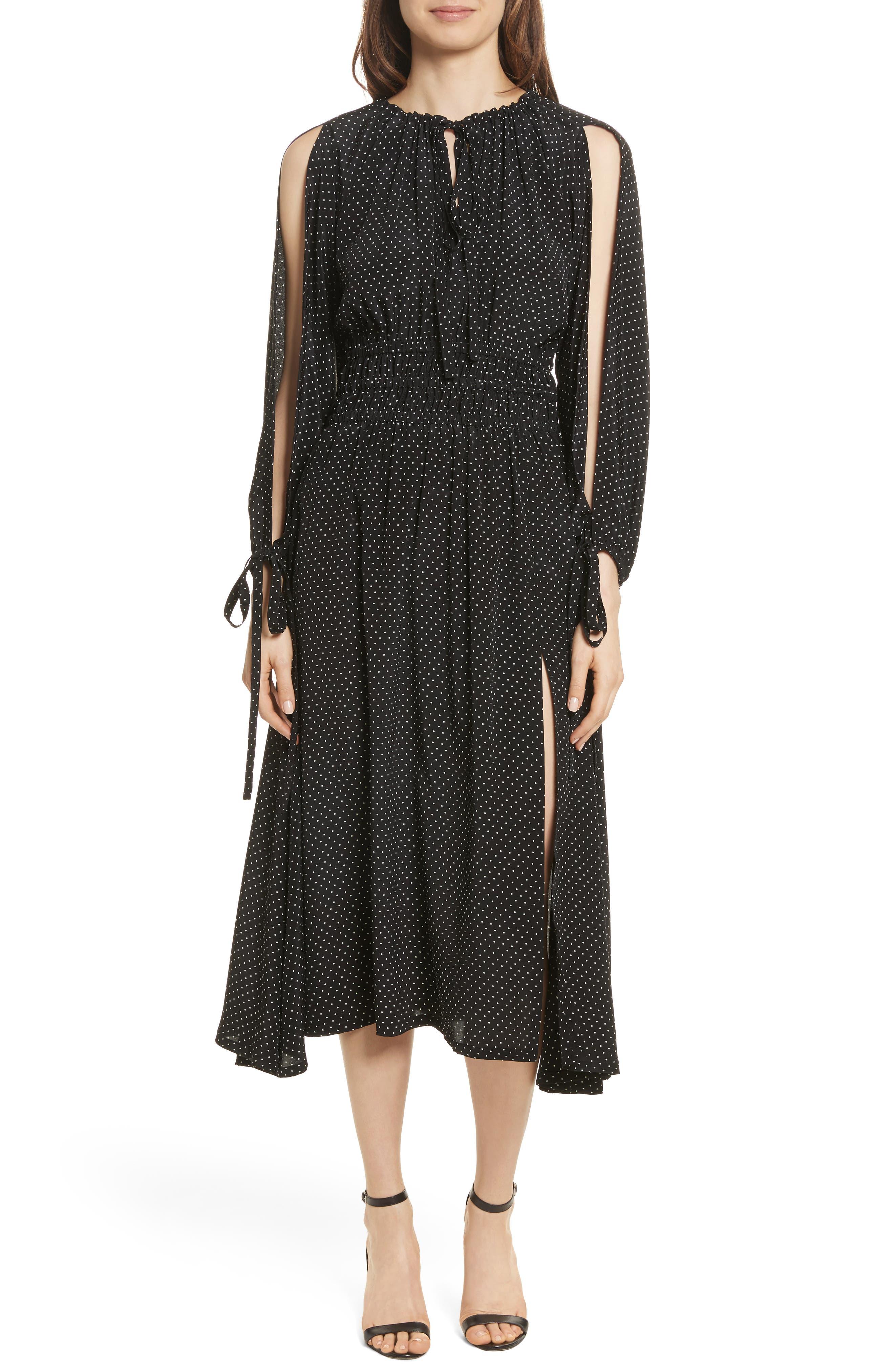 Polka Dot Silk Cold Shoulder Dress,                         Main,                         color, 001