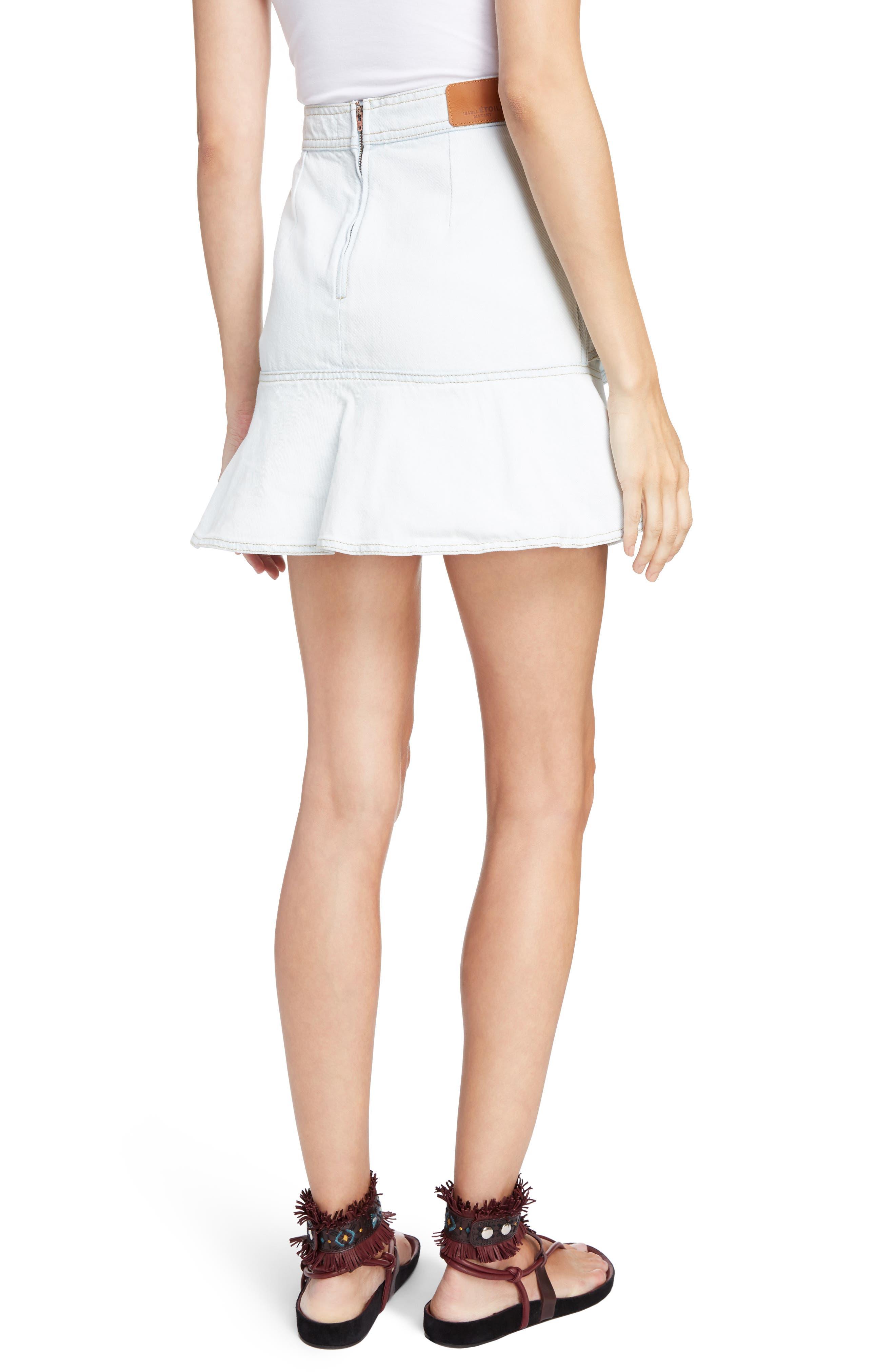 Coati Ruffle Denim Skirt,                             Alternate thumbnail 2, color,                             400