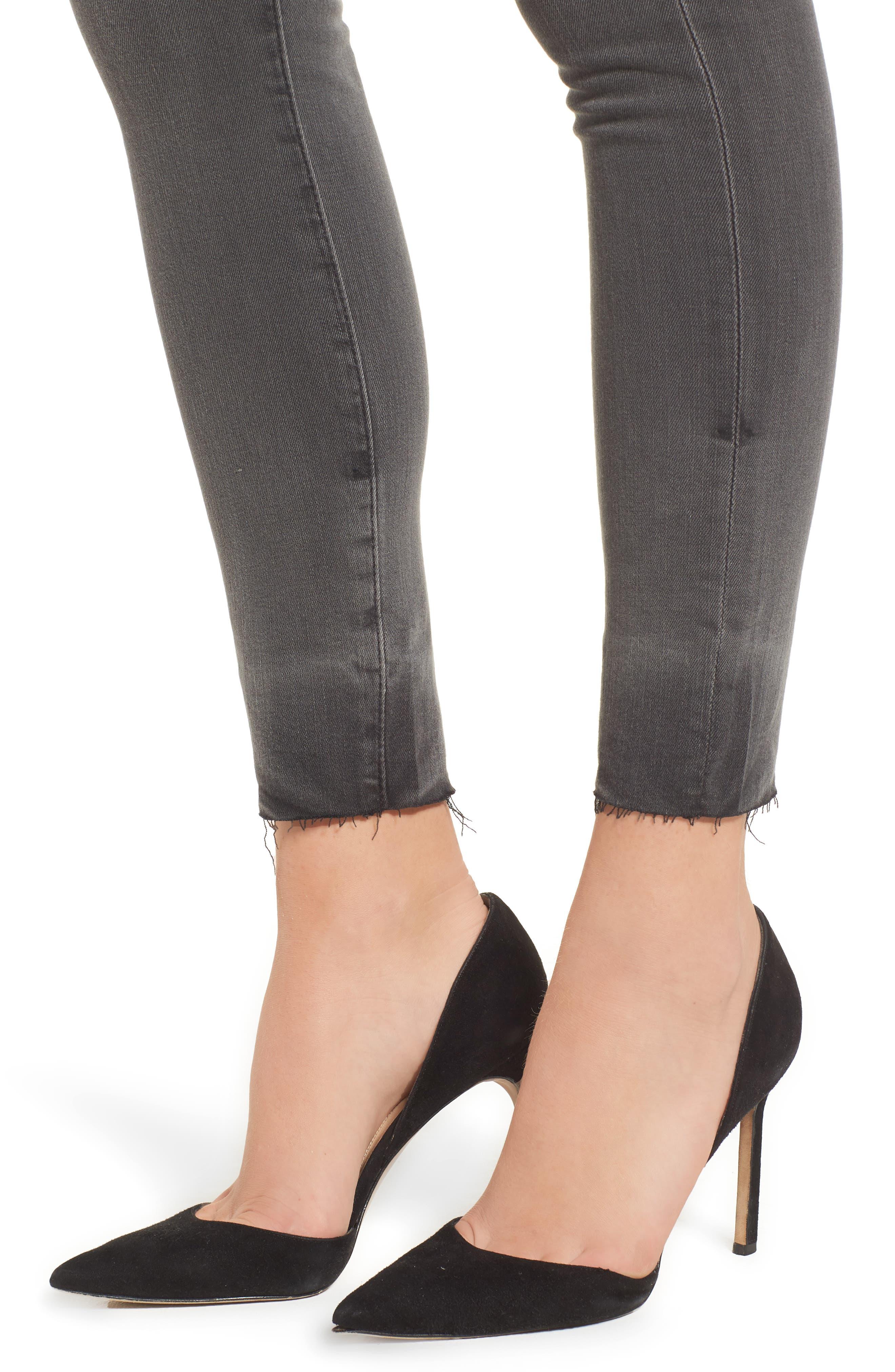 The Farrah High Waist Raw Hem Skinny Jeans,                             Alternate thumbnail 4, color,                             001