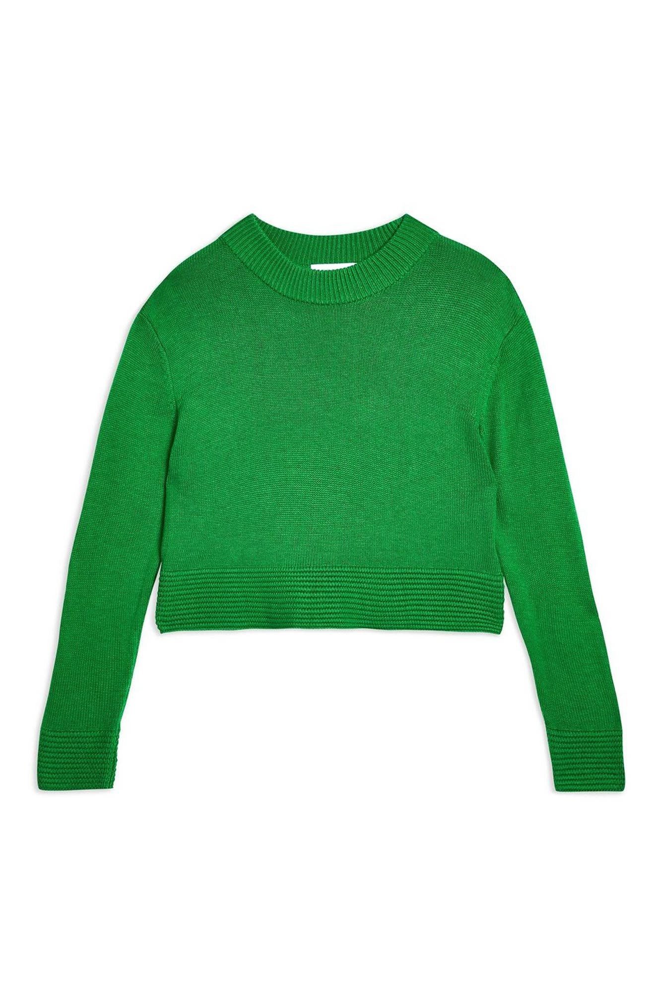 Cash Ottoman Crop Sweater,                             Alternate thumbnail 4, color,                             GREEN