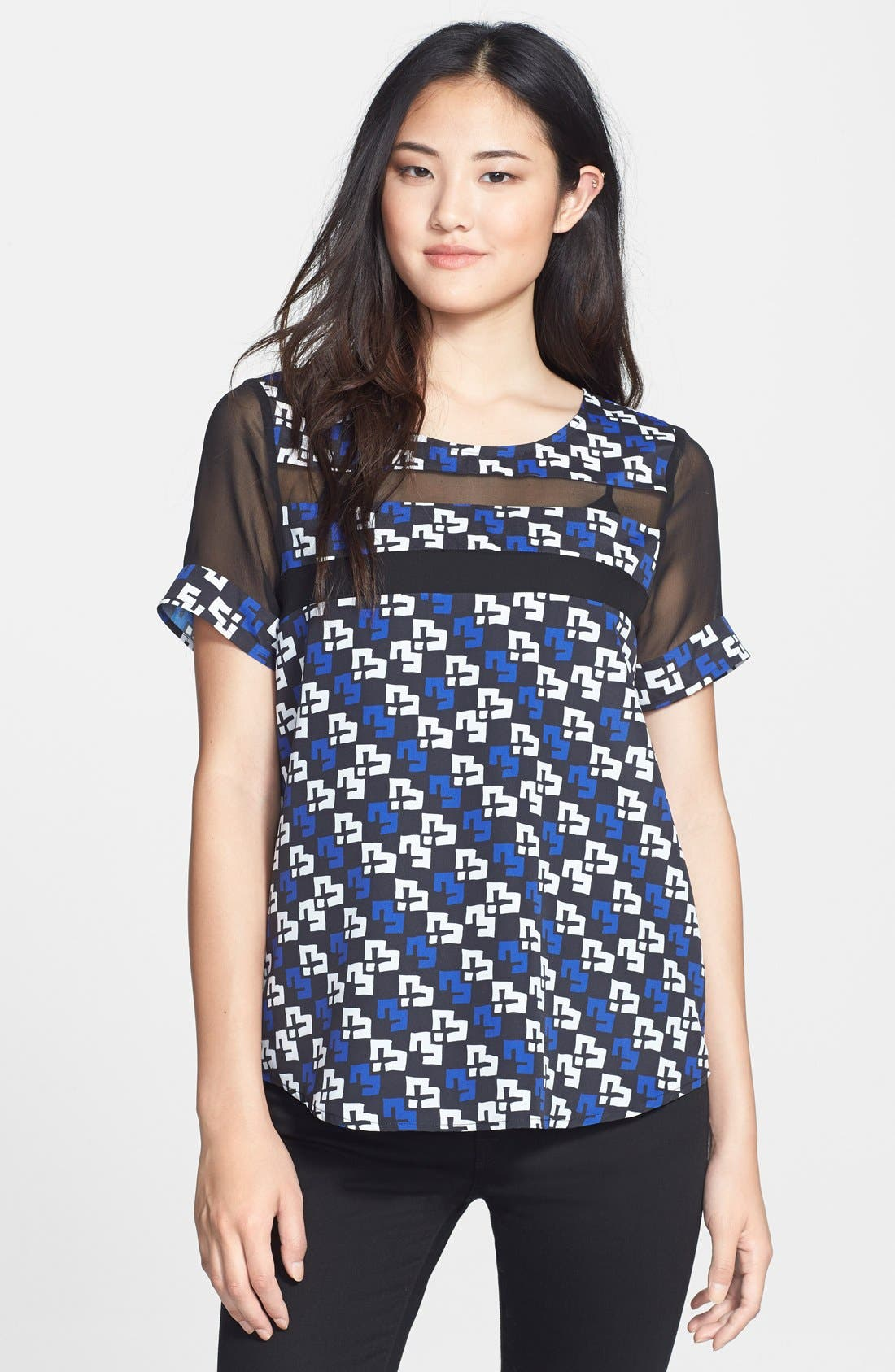 Chiffon Inset Woven Tee, Main, color, 401