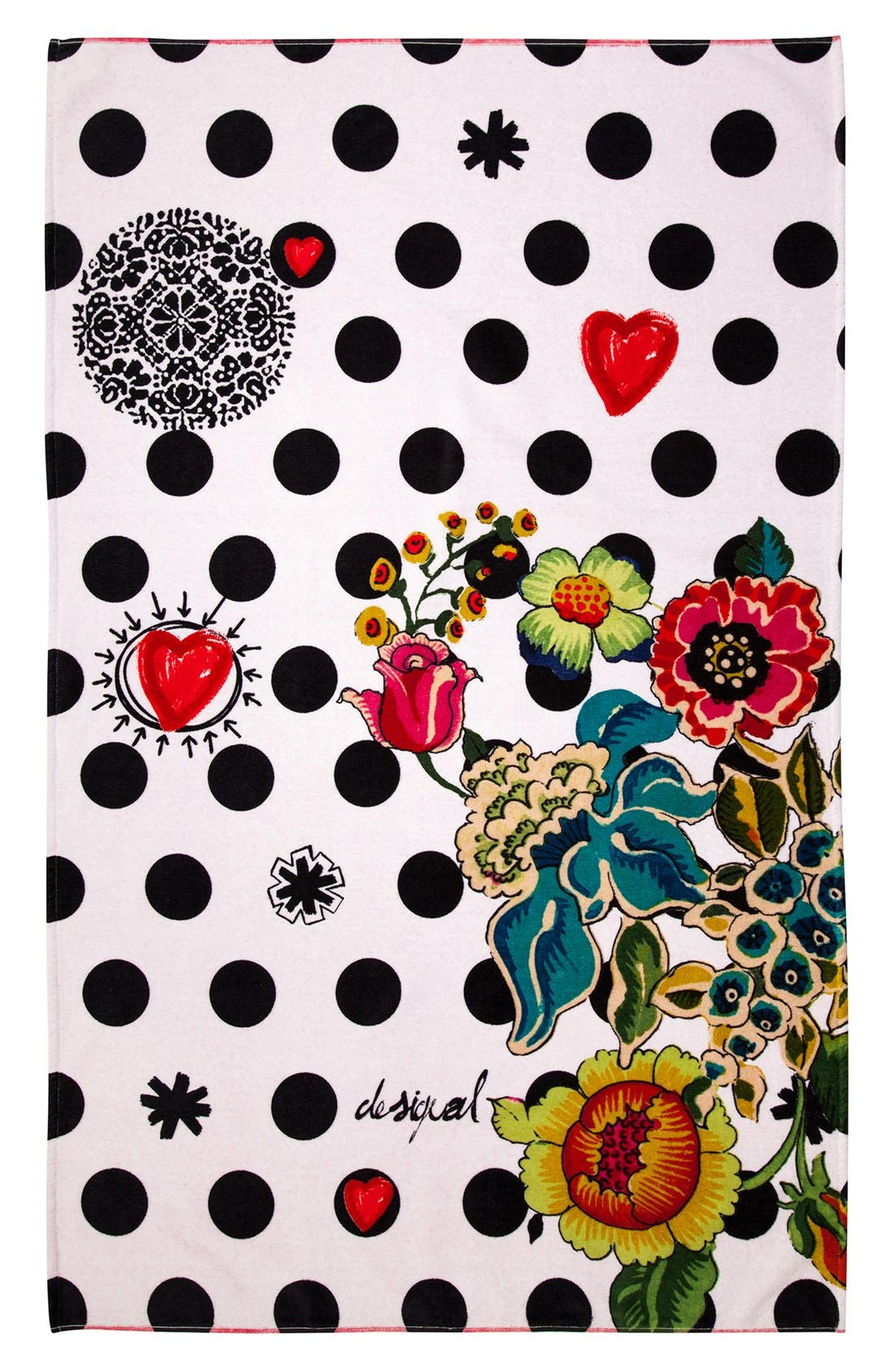 DESIGUAL,                             'Polka Dots' Bath Towel,                             Main thumbnail 1, color,                             100