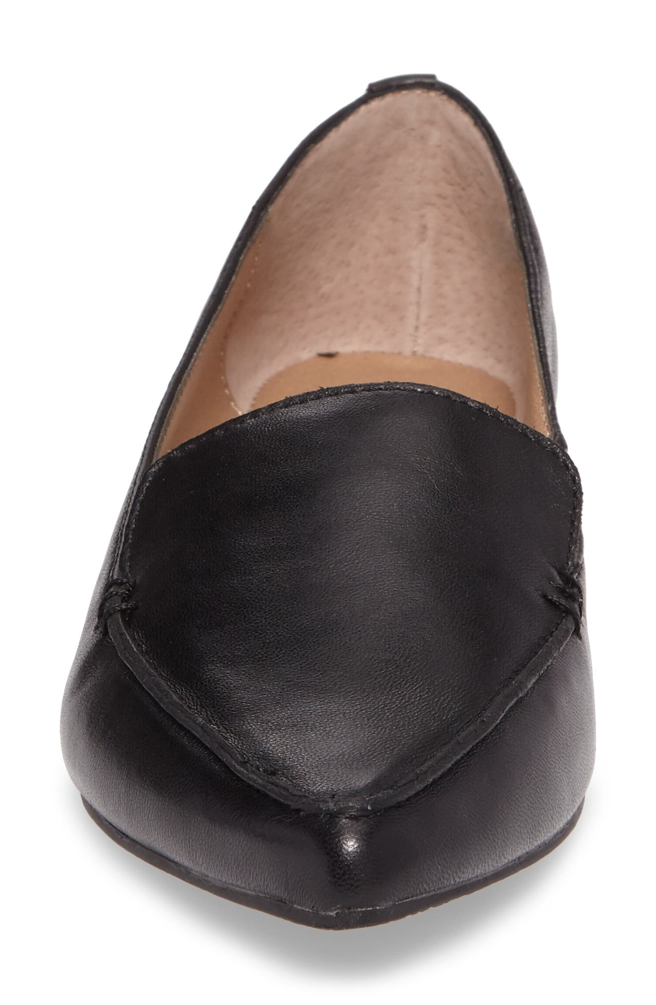 Feather Loafer Flat,                             Alternate thumbnail 4, color,                             BLACK LEATHER