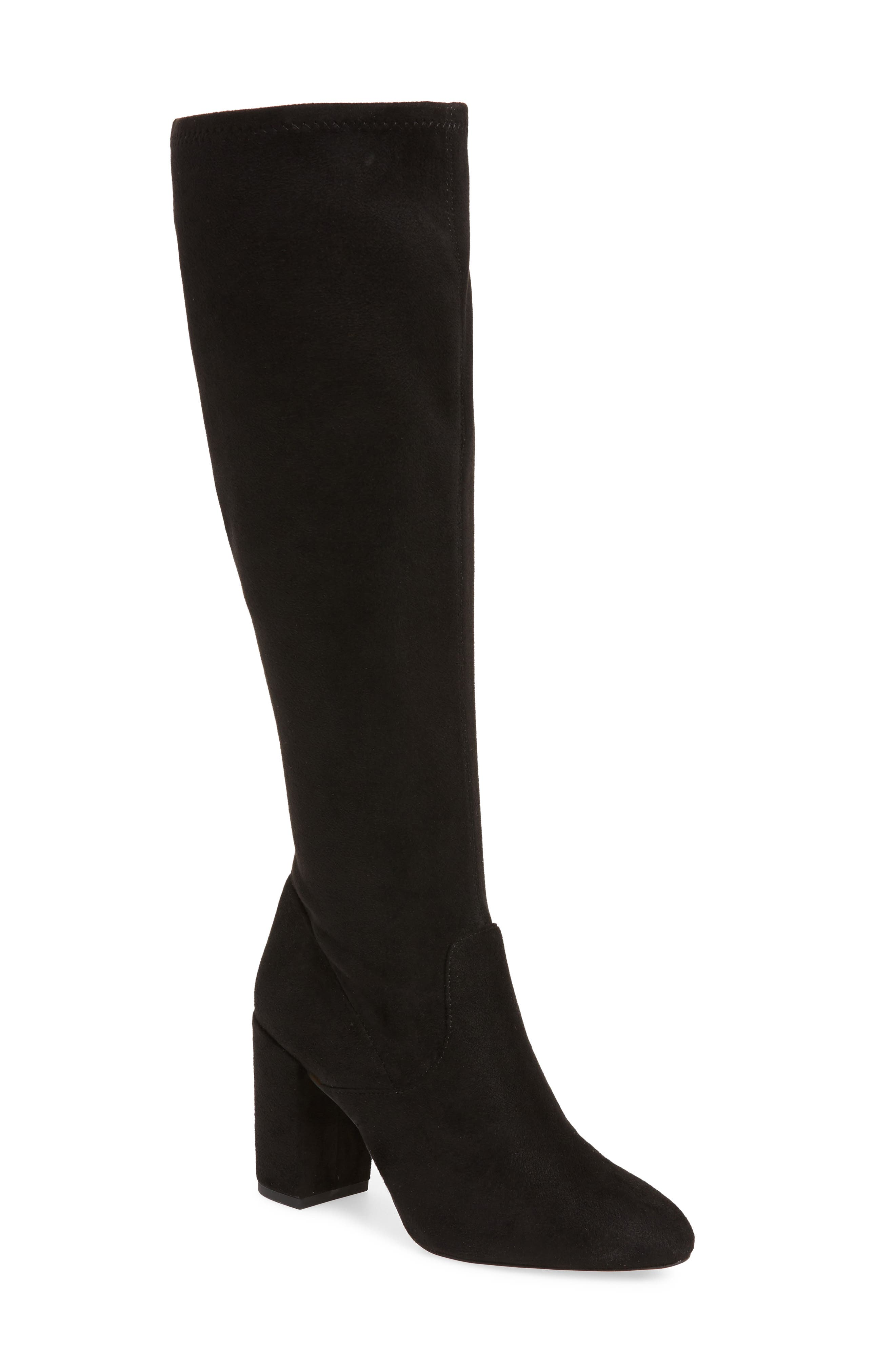 Gillian Knee High Boot,                         Main,                         color, BLACK SUEDE
