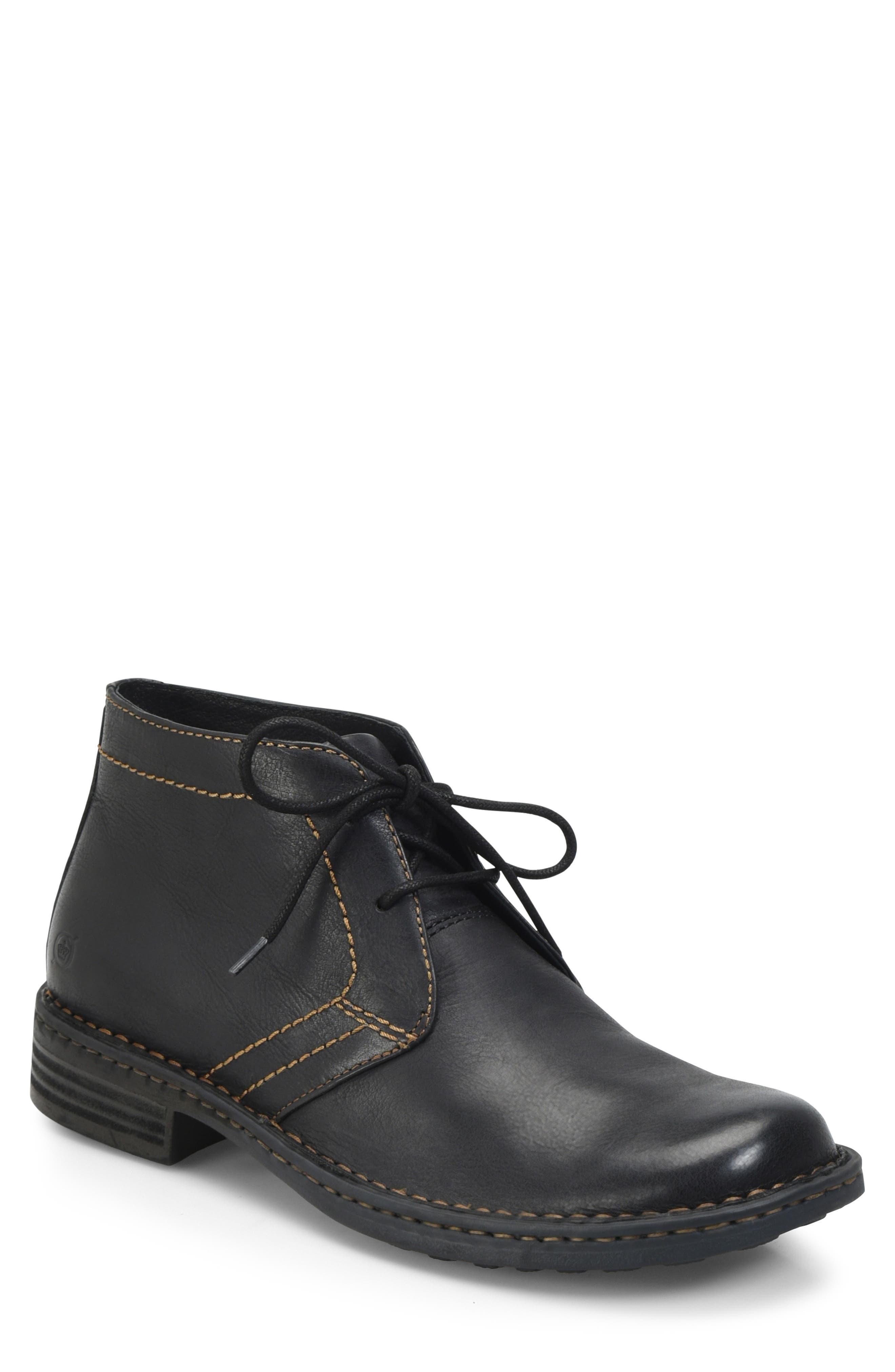 'Harrison' Chukka Boot,                         Main,                         color, BLACK LEATHER