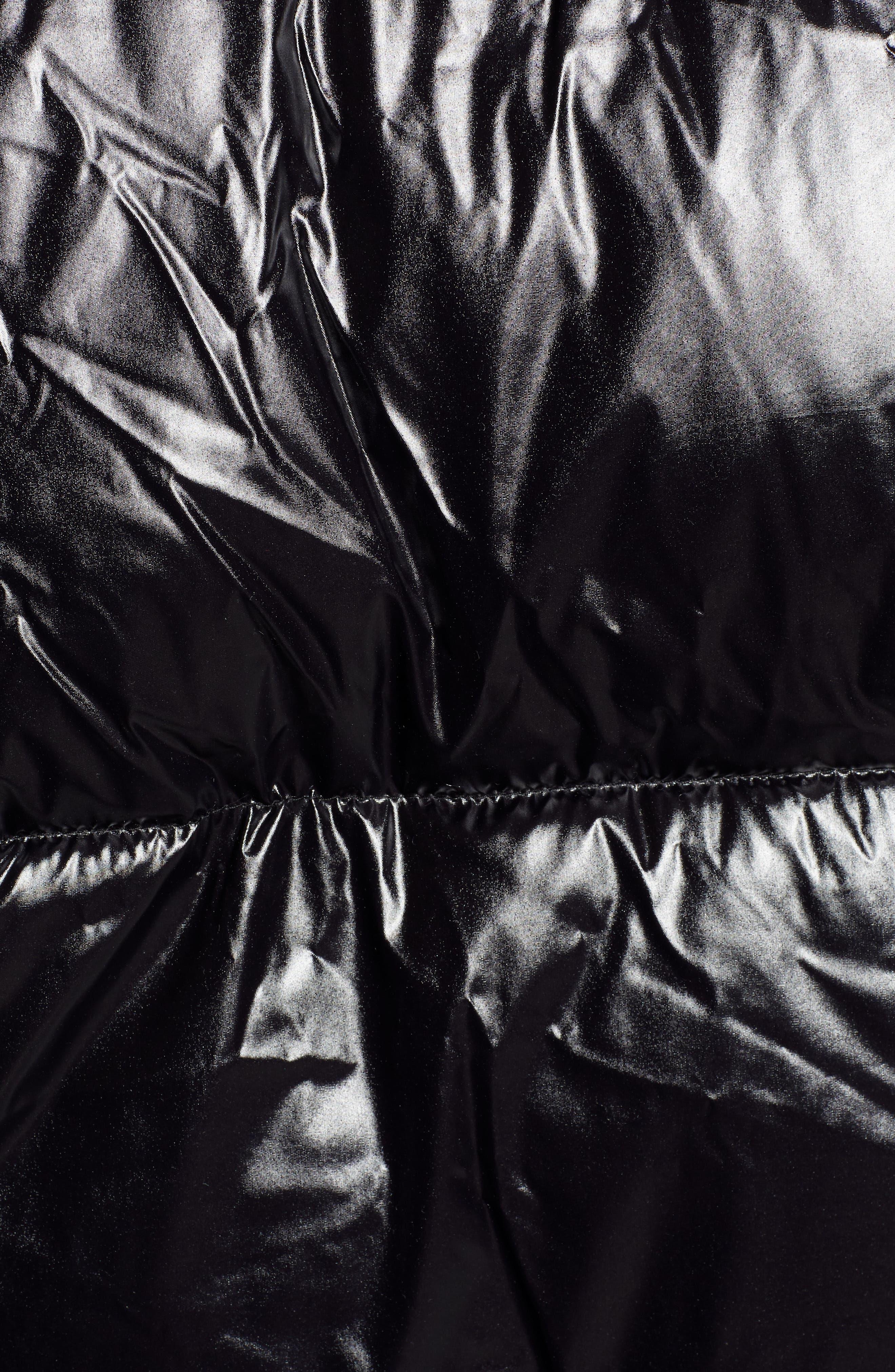 Glossy Puffer Coat,                             Alternate thumbnail 7, color,                             BLACK