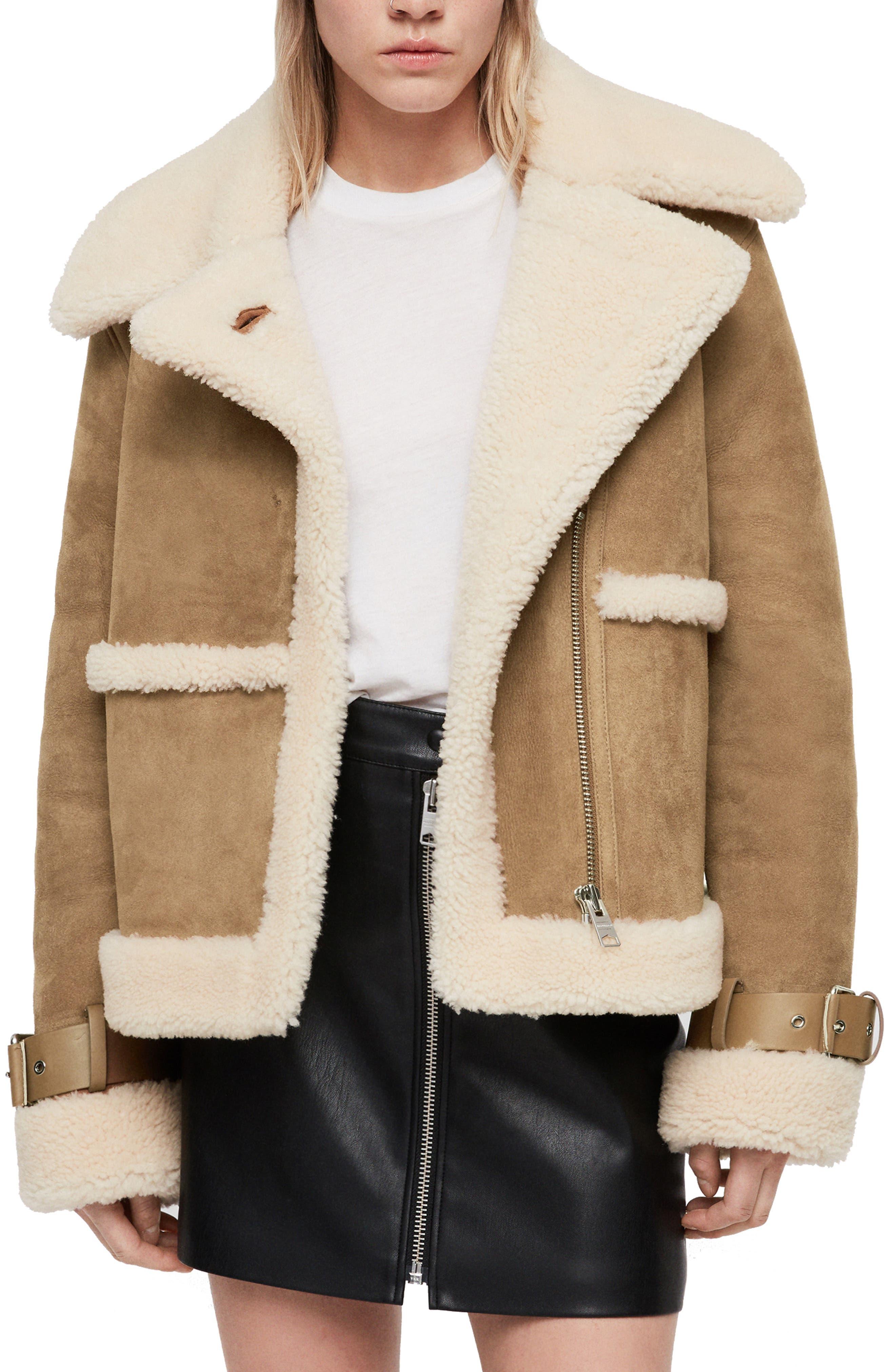 Allsaints Farley Genuine Shearling Jacket, Beige