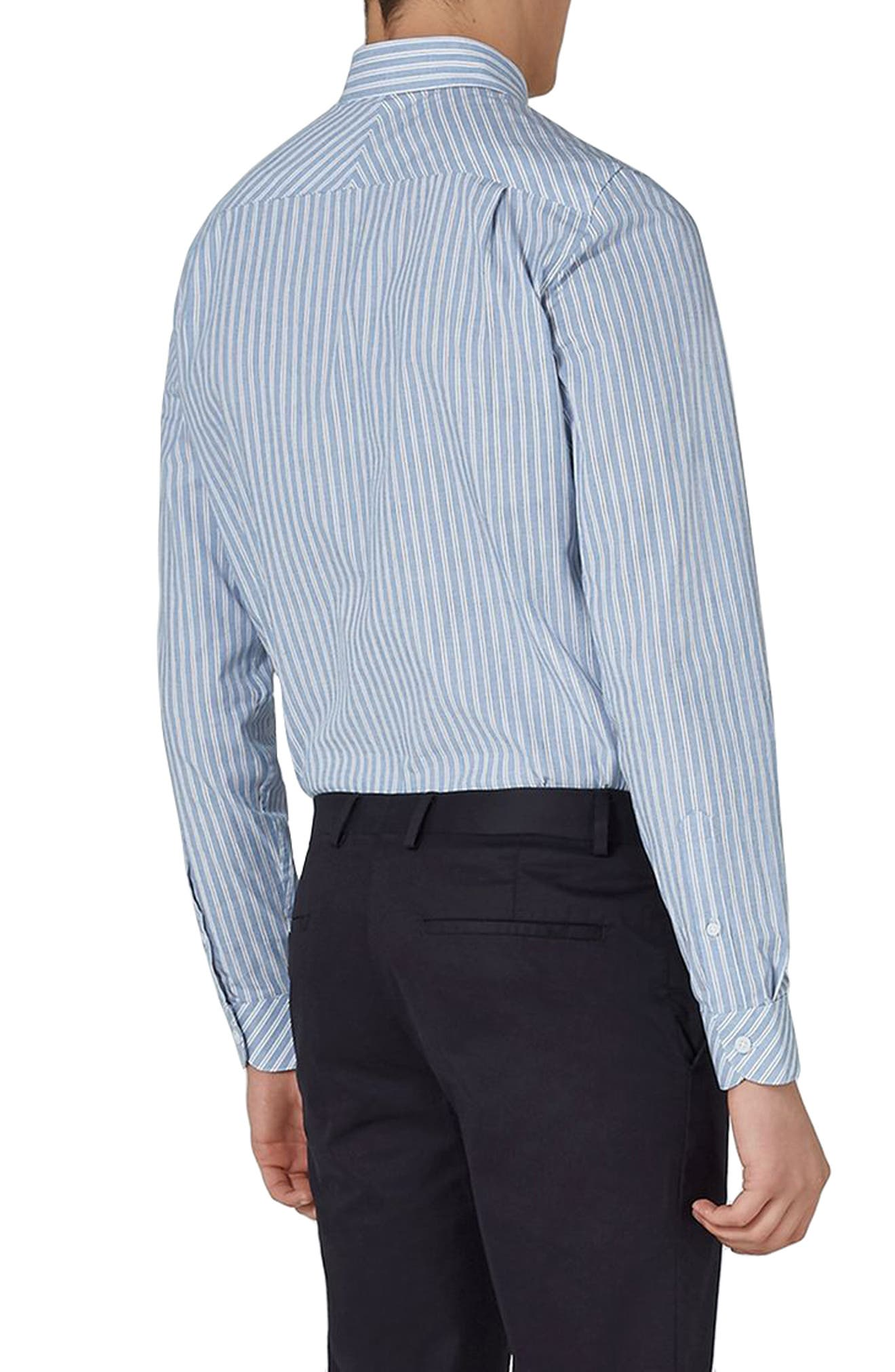 Classic Fit Stripe Smart Shirt,                             Alternate thumbnail 2, color,                             BLUE MULTI