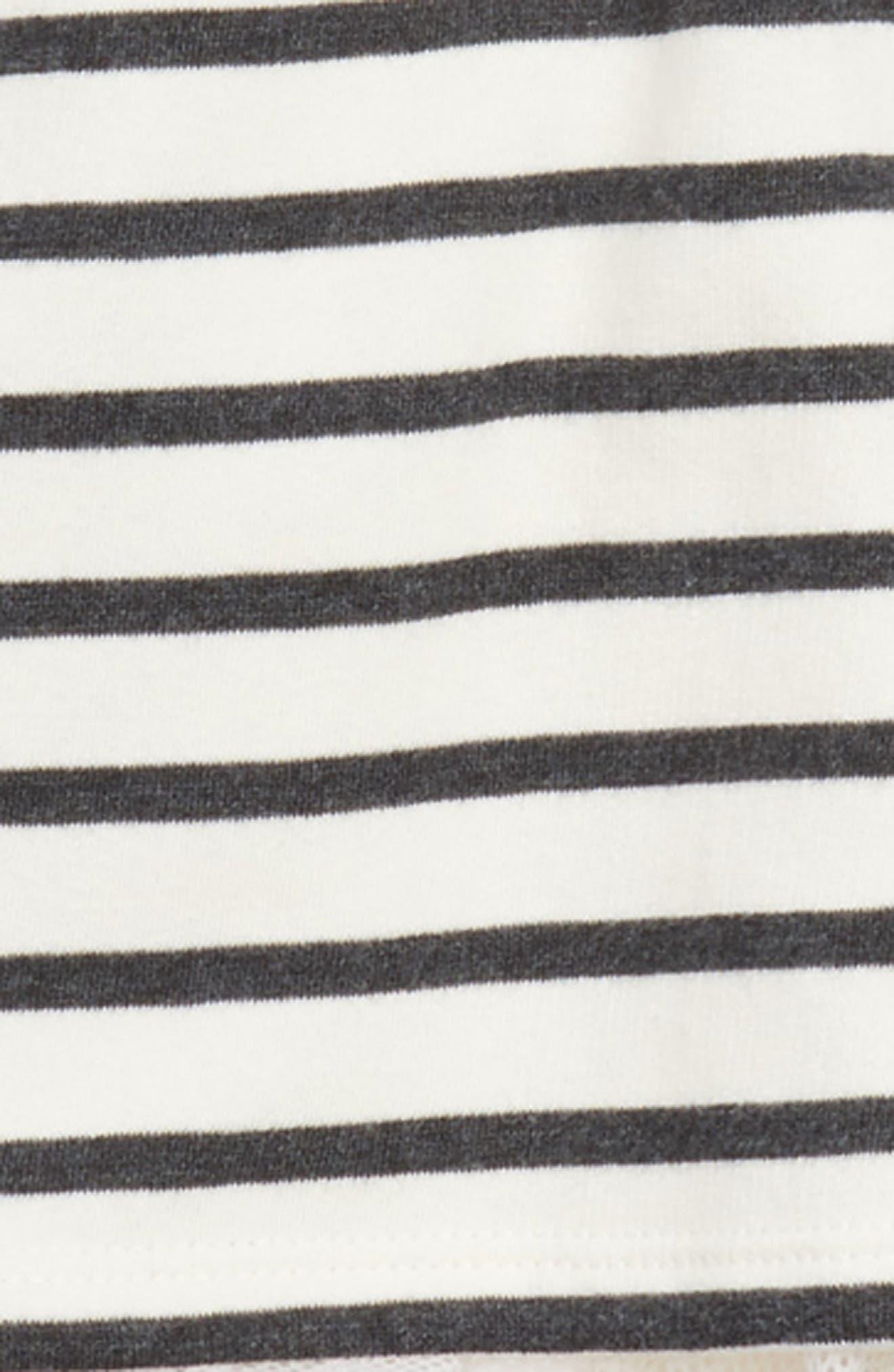 Stripe Crop Hooded Sweatshirt with Back Ruffle,                             Alternate thumbnail 2, color,                             160