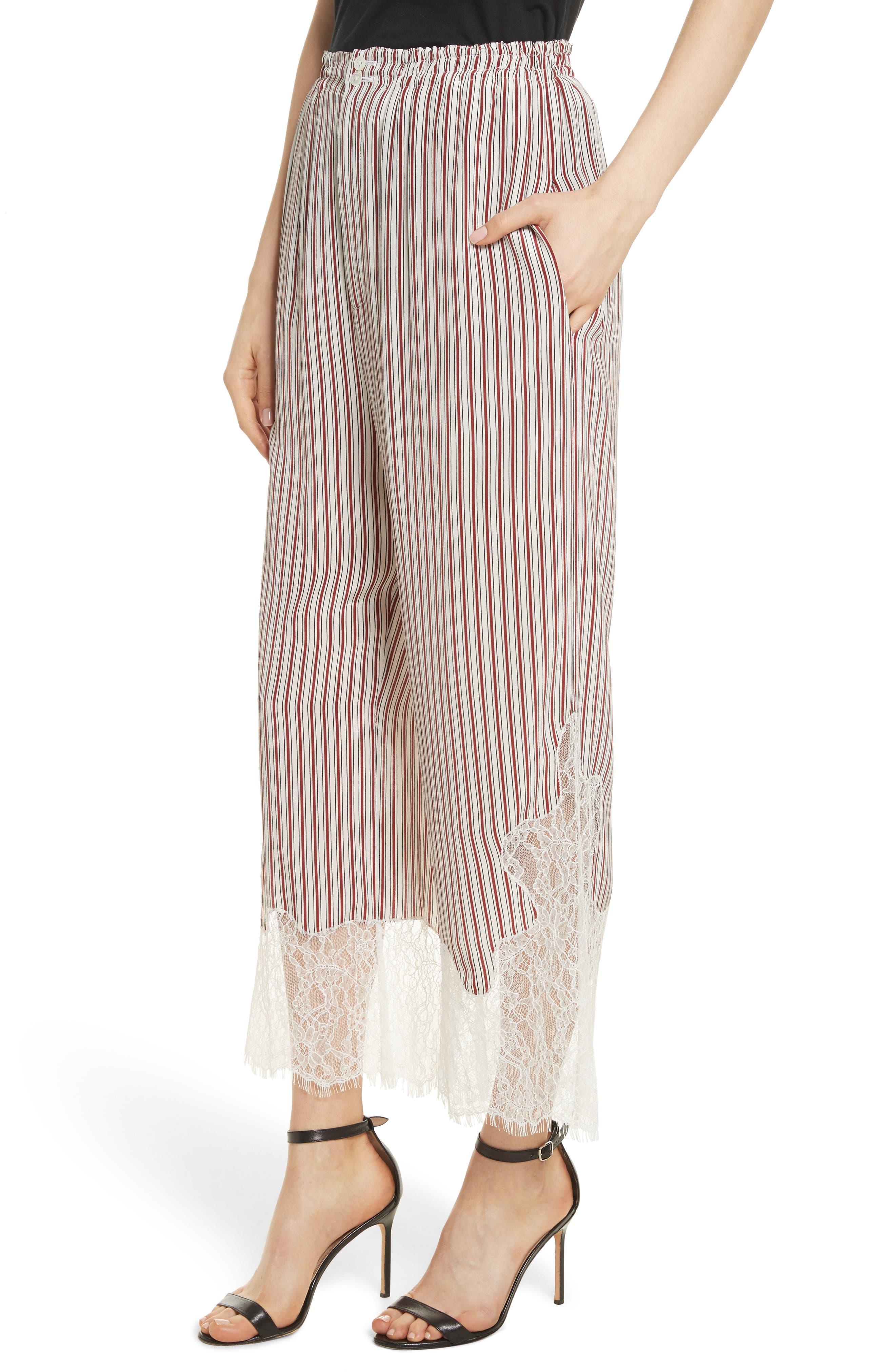 Lace Hem Stripe Pants,                             Alternate thumbnail 4, color,