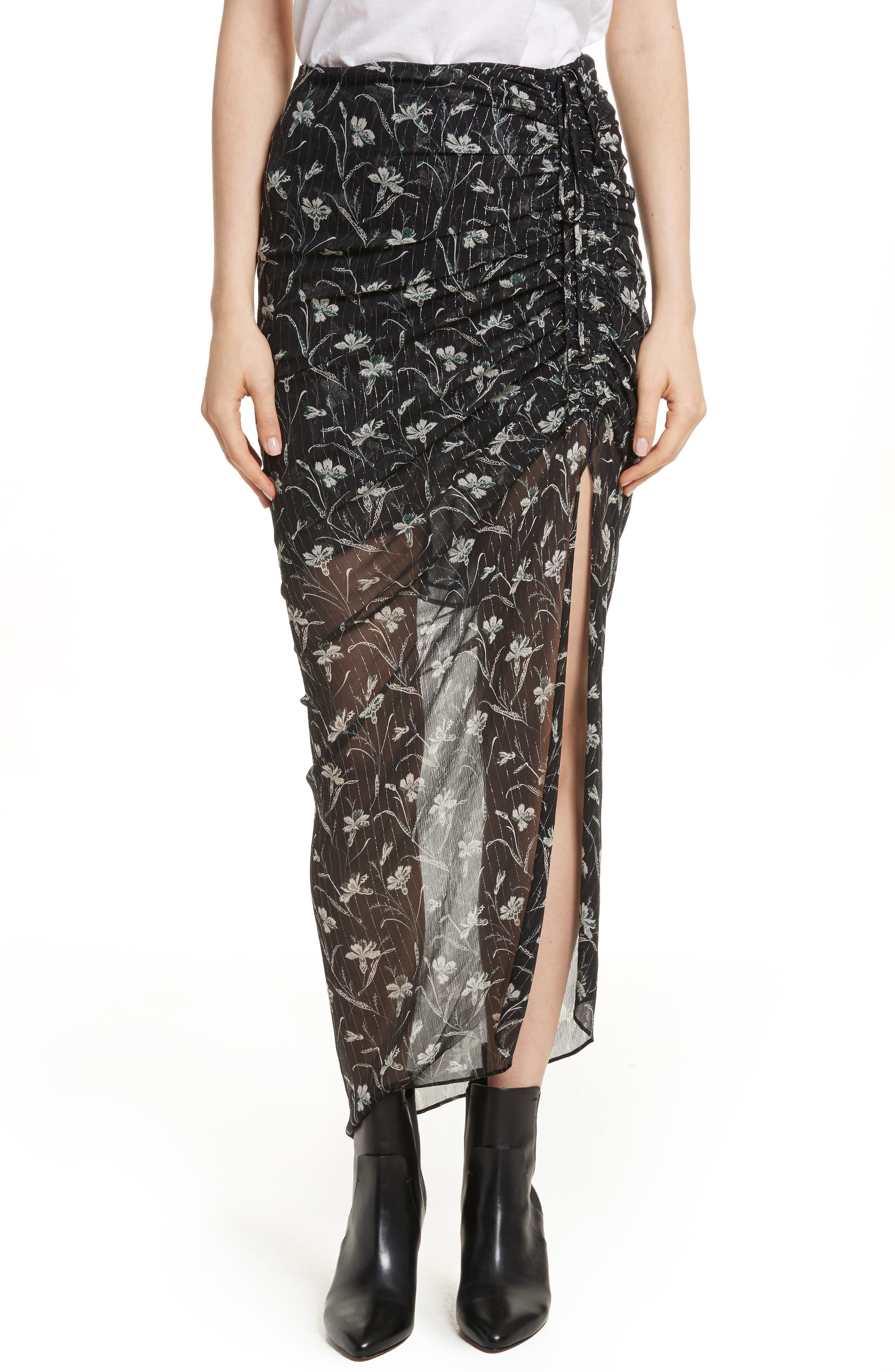Mae Metallic Stripe Silk Midi Skirt,                         Main,                         color,