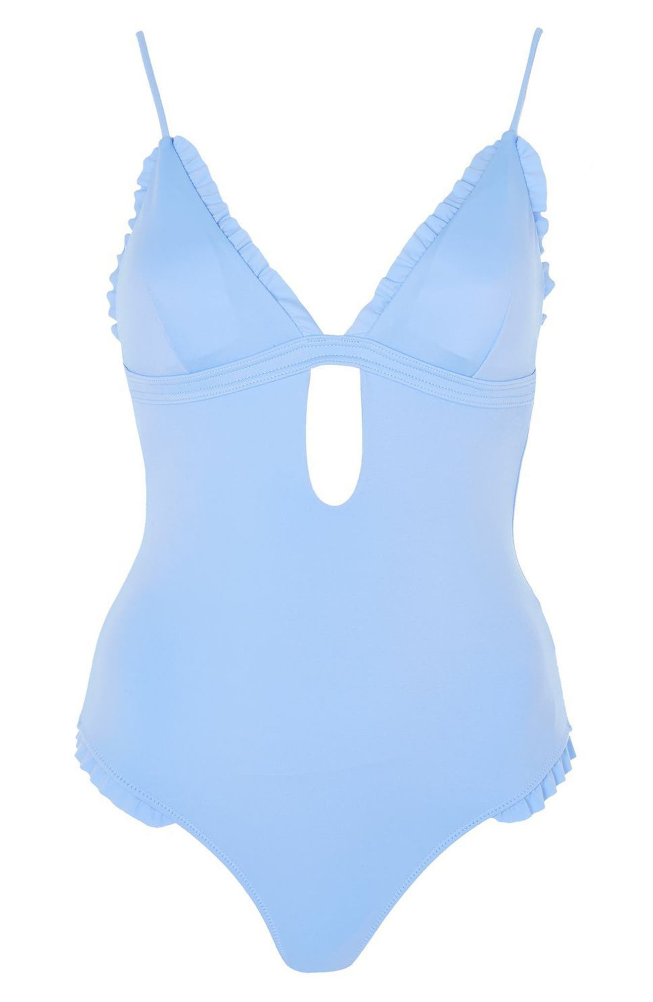 Ruffle Plunge One-Piece Swimsuit,                             Alternate thumbnail 3, color,                             400