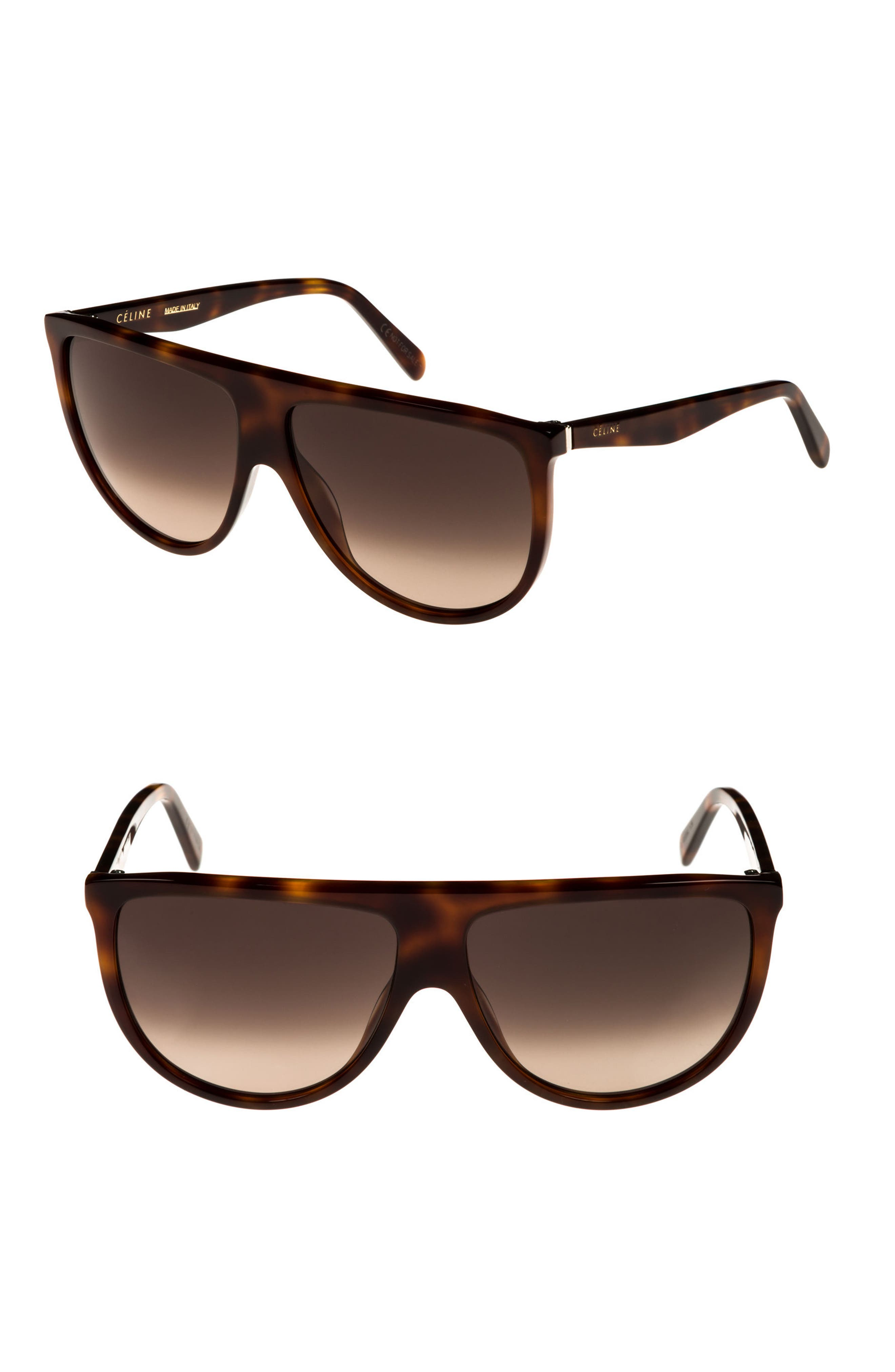 CELINE Flattop Gradient Shield Sunglasses, Light Brown in Blonde Havana