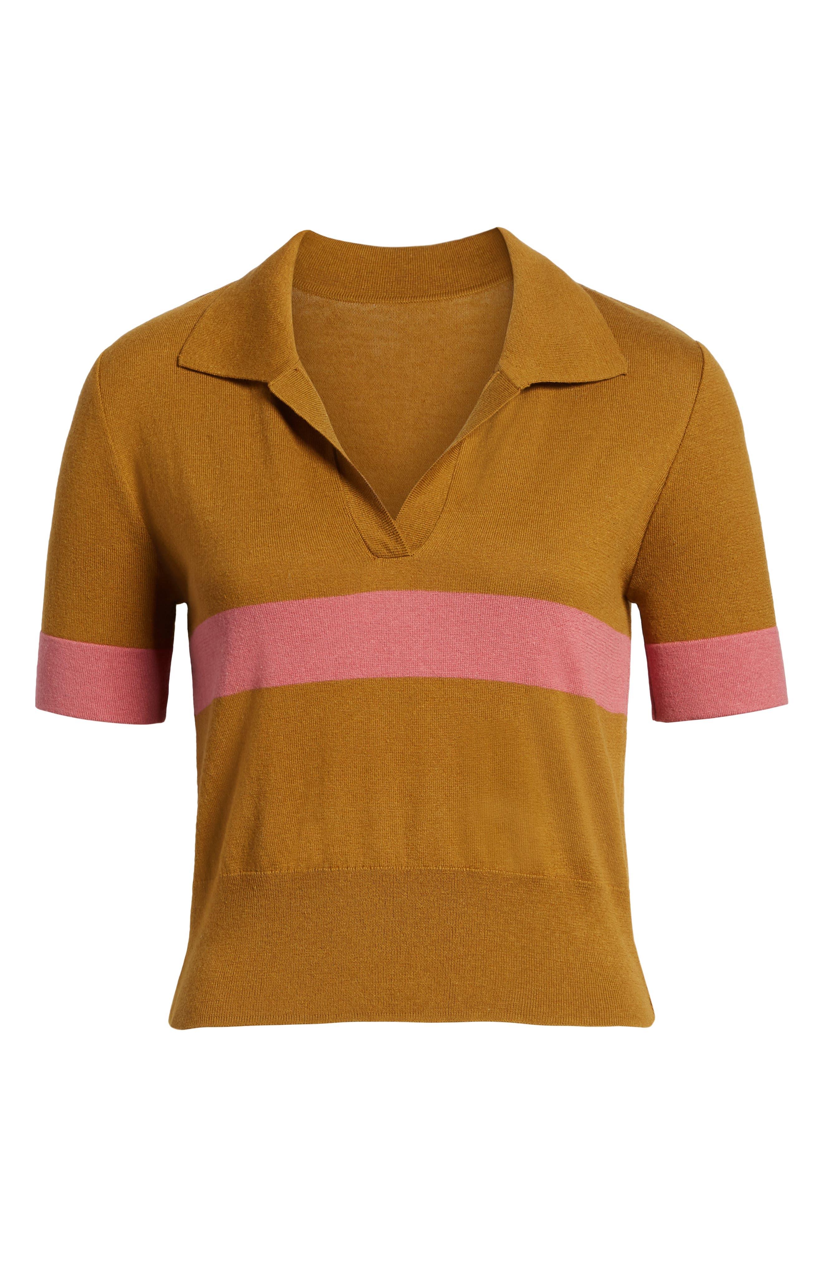 BP., Stripe Polo Sweater, Alternate thumbnail 6, color, BROWN BRONZE AIME STRIPE
