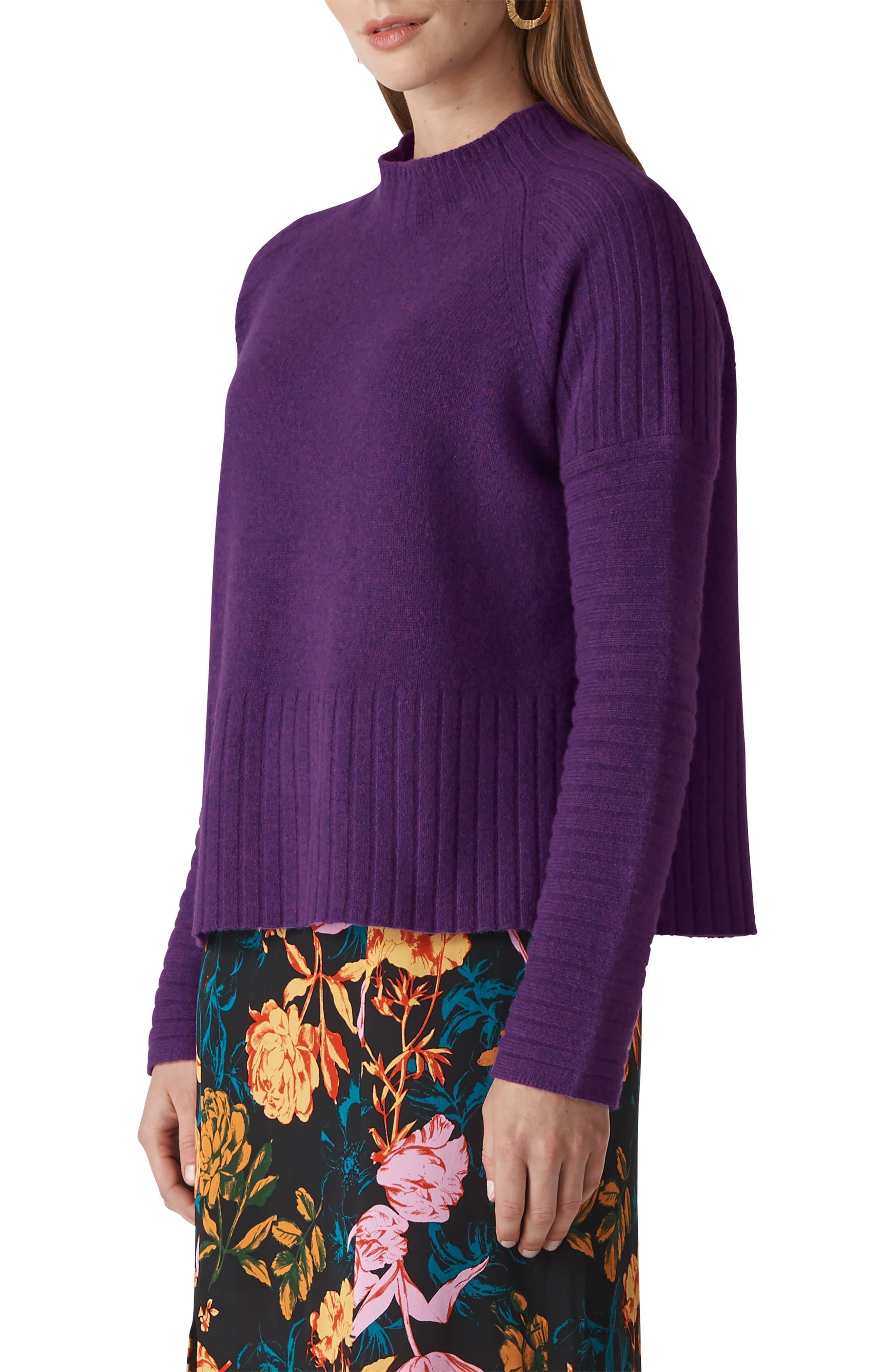 Whistles Funnel Neck Merino Wool Sweater, Purple