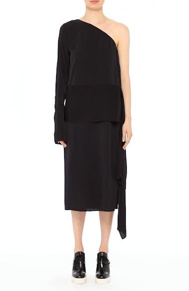 One-Shoulder Draped Cady Dress, video thumbnail