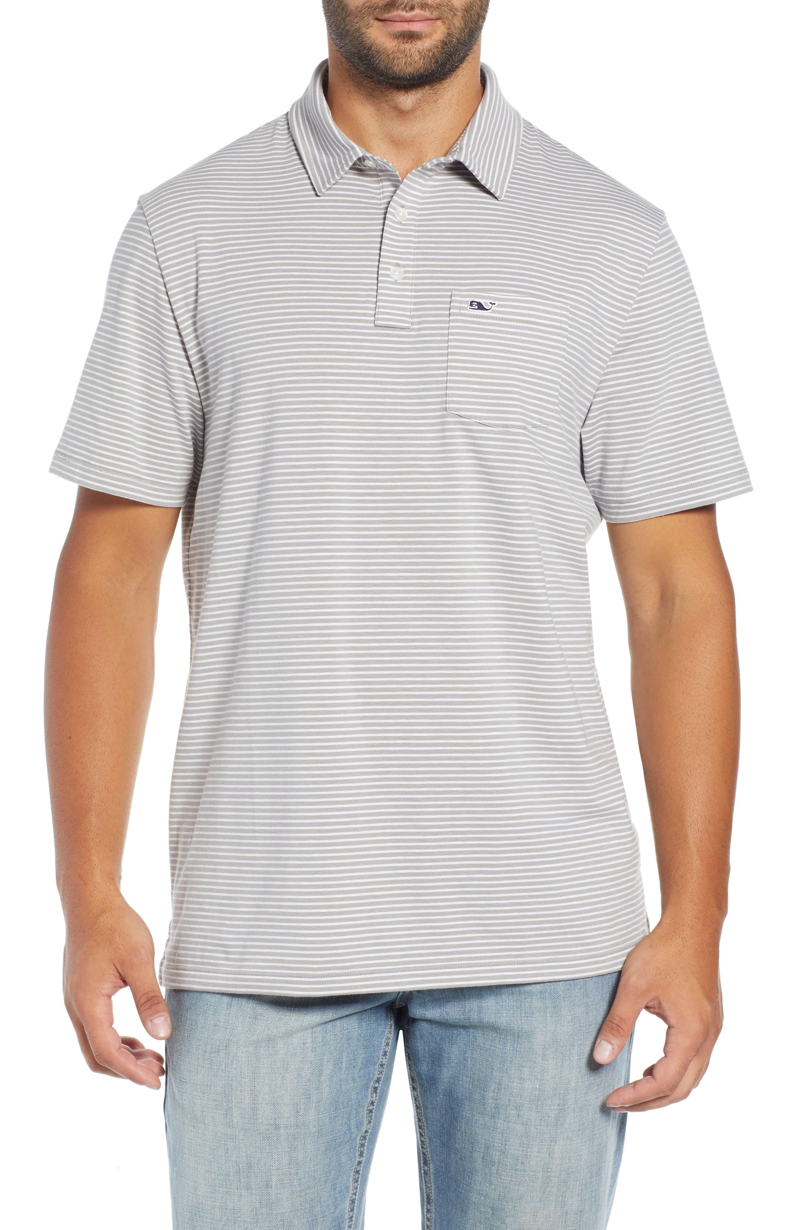 Shep Stripe Edgartown Polo Shirt,                         Main,                         color, MONUMENT GREY