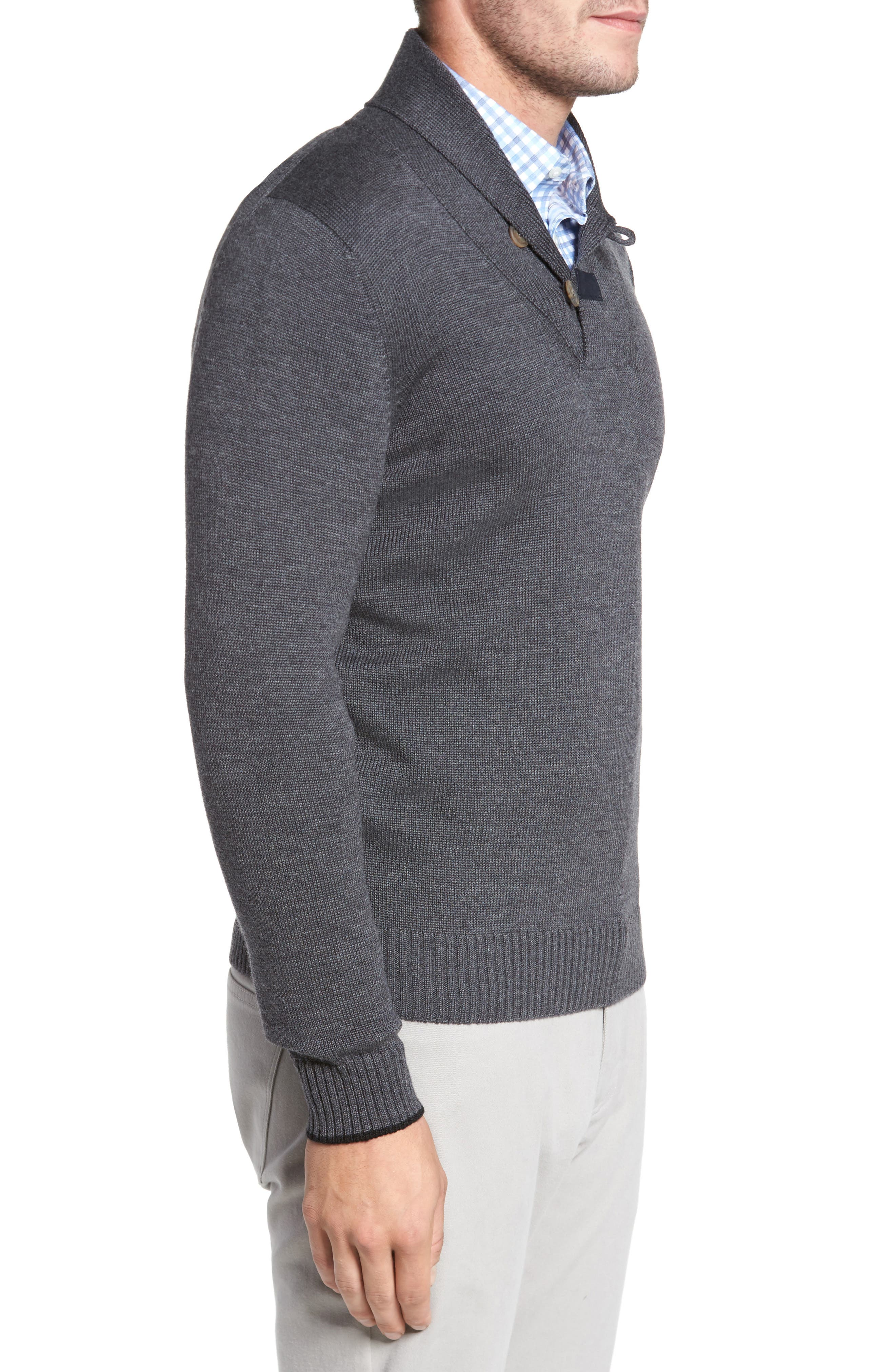 Merino Wool Shawl Collar Pullover,                             Alternate thumbnail 3, color,                             010