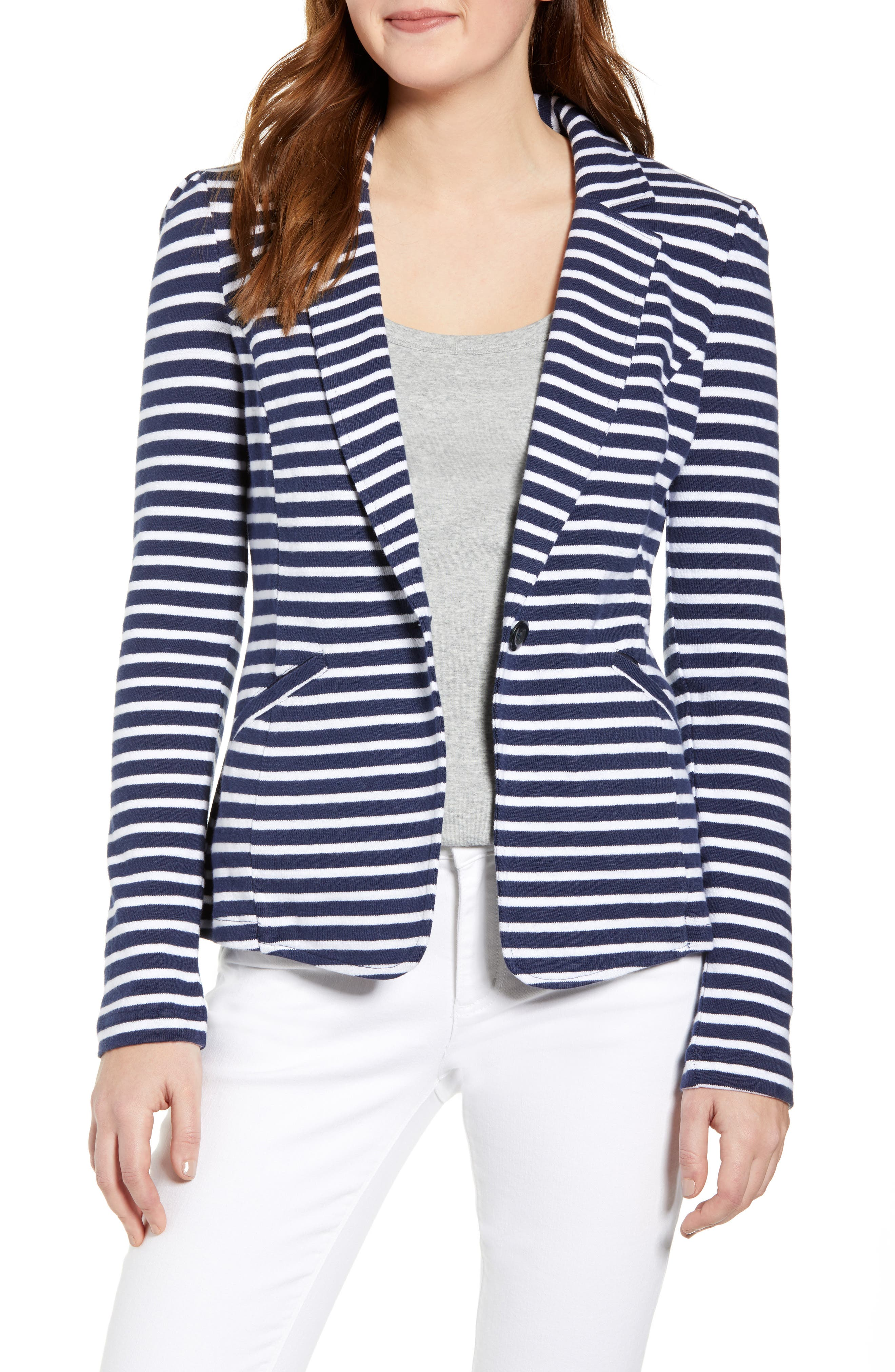 CASLON<SUP>®</SUP>,                             Knit One-Button Blazer,                             Main thumbnail 1, color,                             NAVY- WHITE STRIPE
