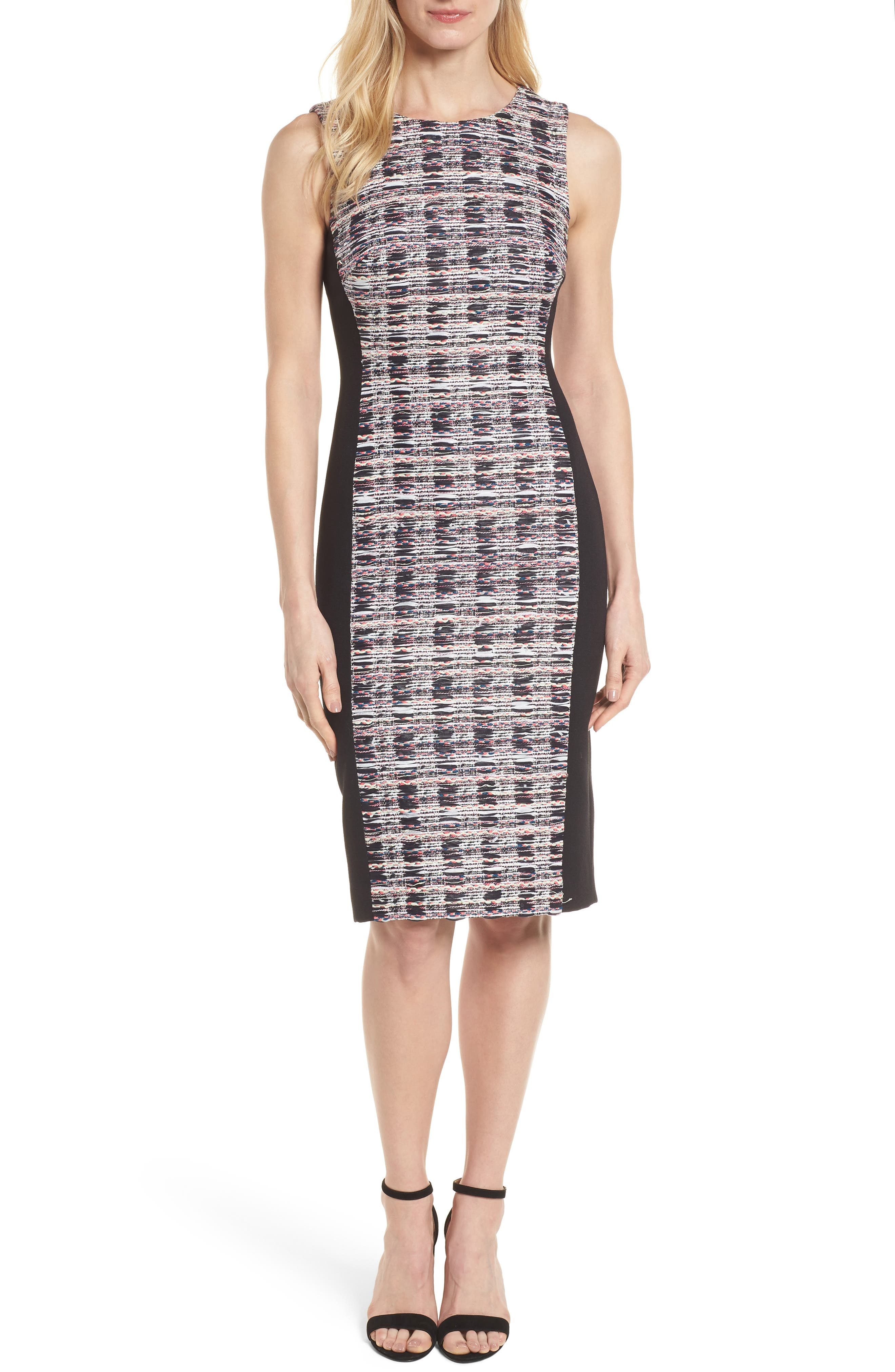 Tweed Mix Body-Con Sheath Dress,                             Main thumbnail 1, color,                             001