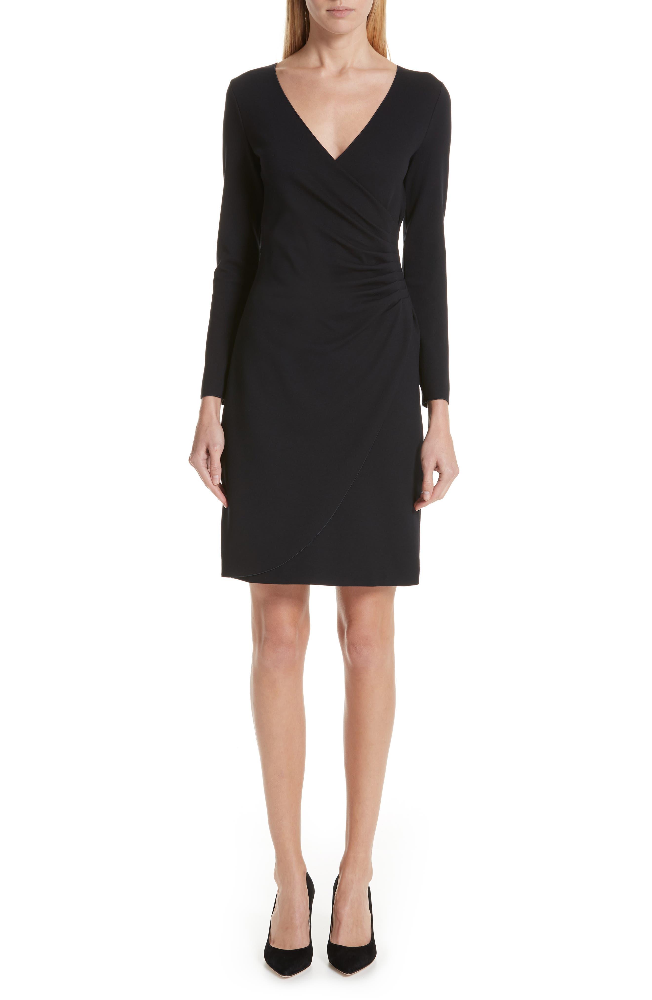 Punto Milano Faux Wrap Dress in Black from ARMANI.COM