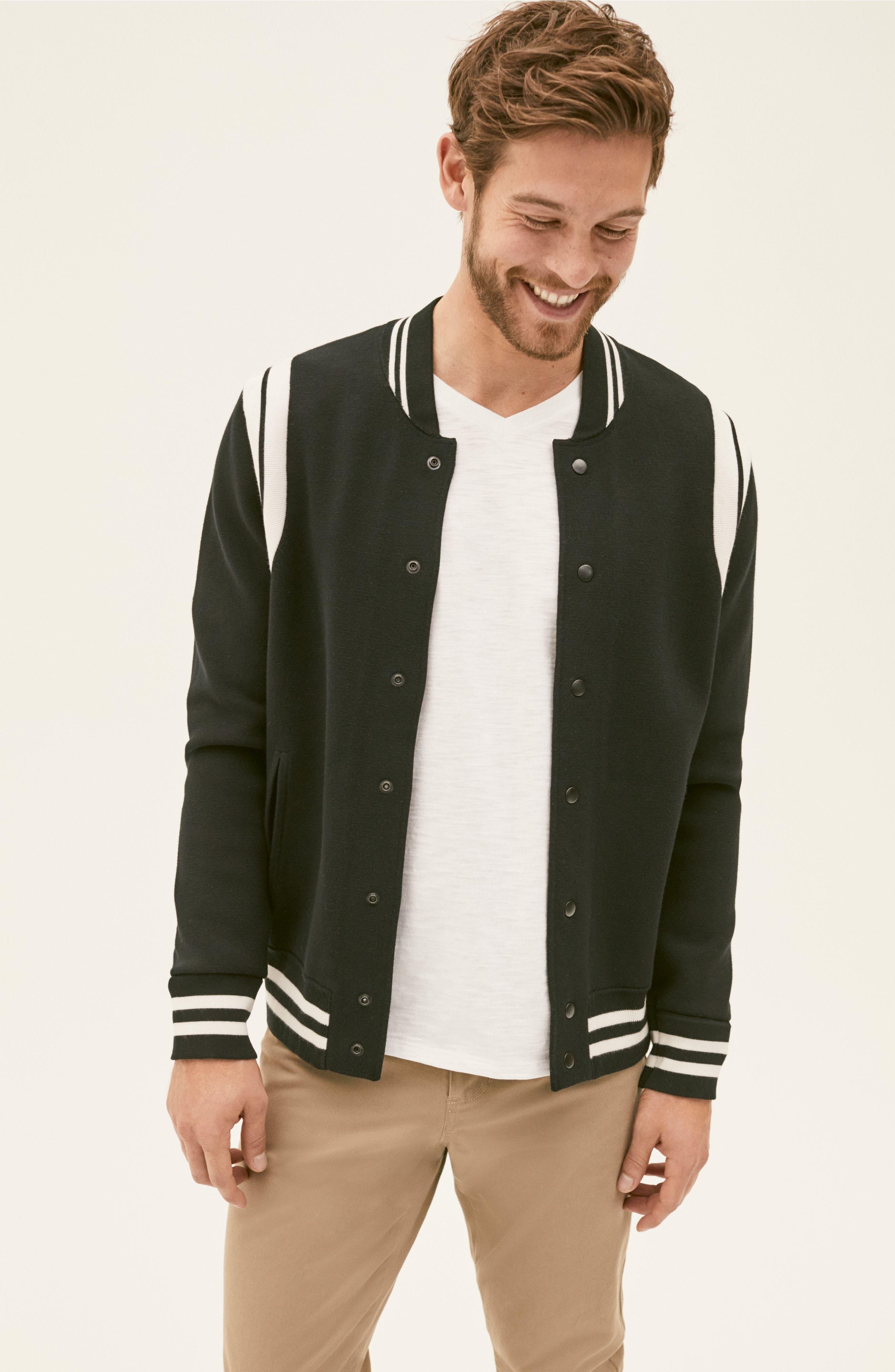 Varsity Regular Fit Jacket,                             Alternate thumbnail 8, color,                             001