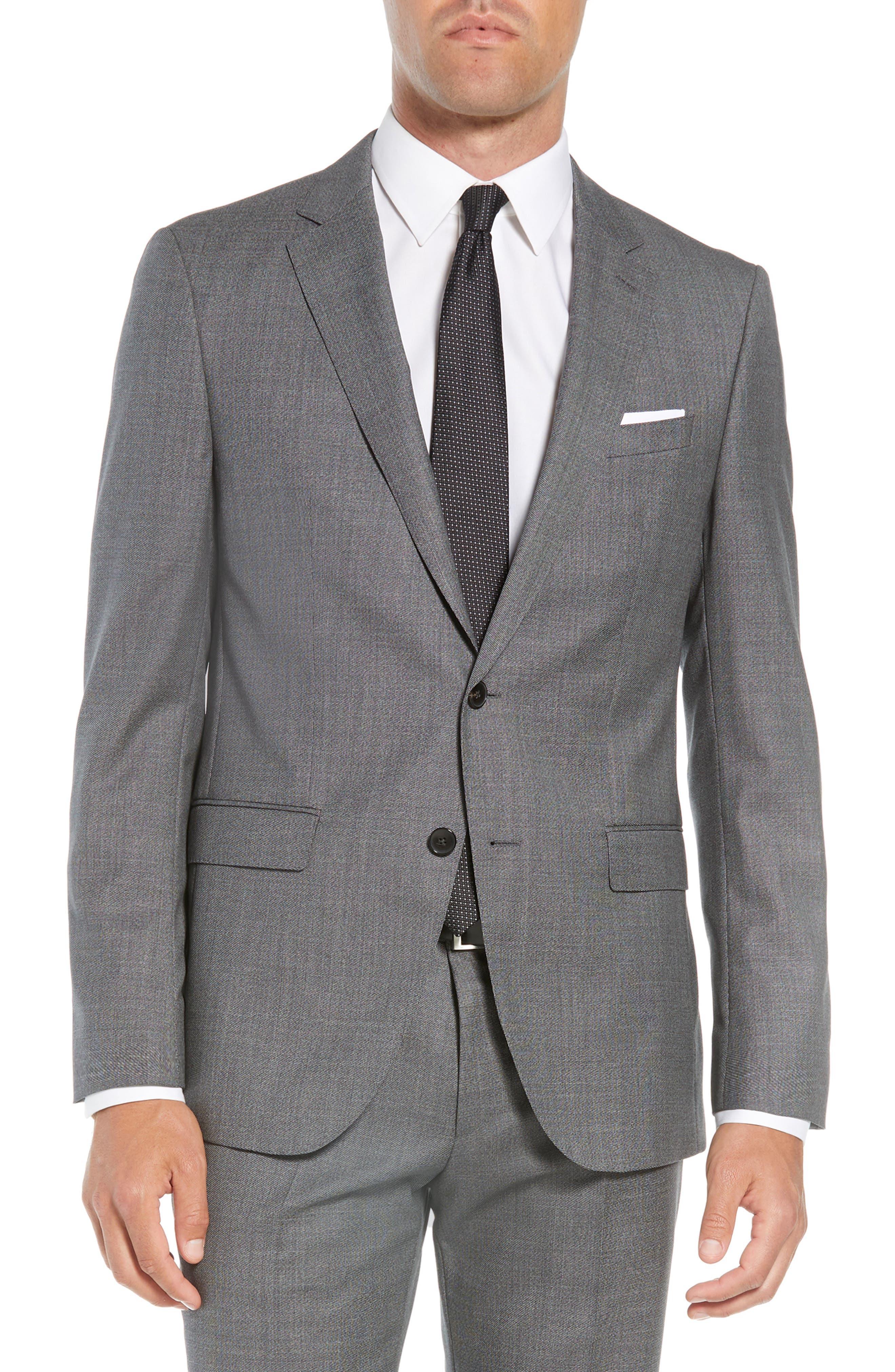 Novan/Ben Trim Fit Solid Wool Suit,                             Alternate thumbnail 5, color,                             GREY