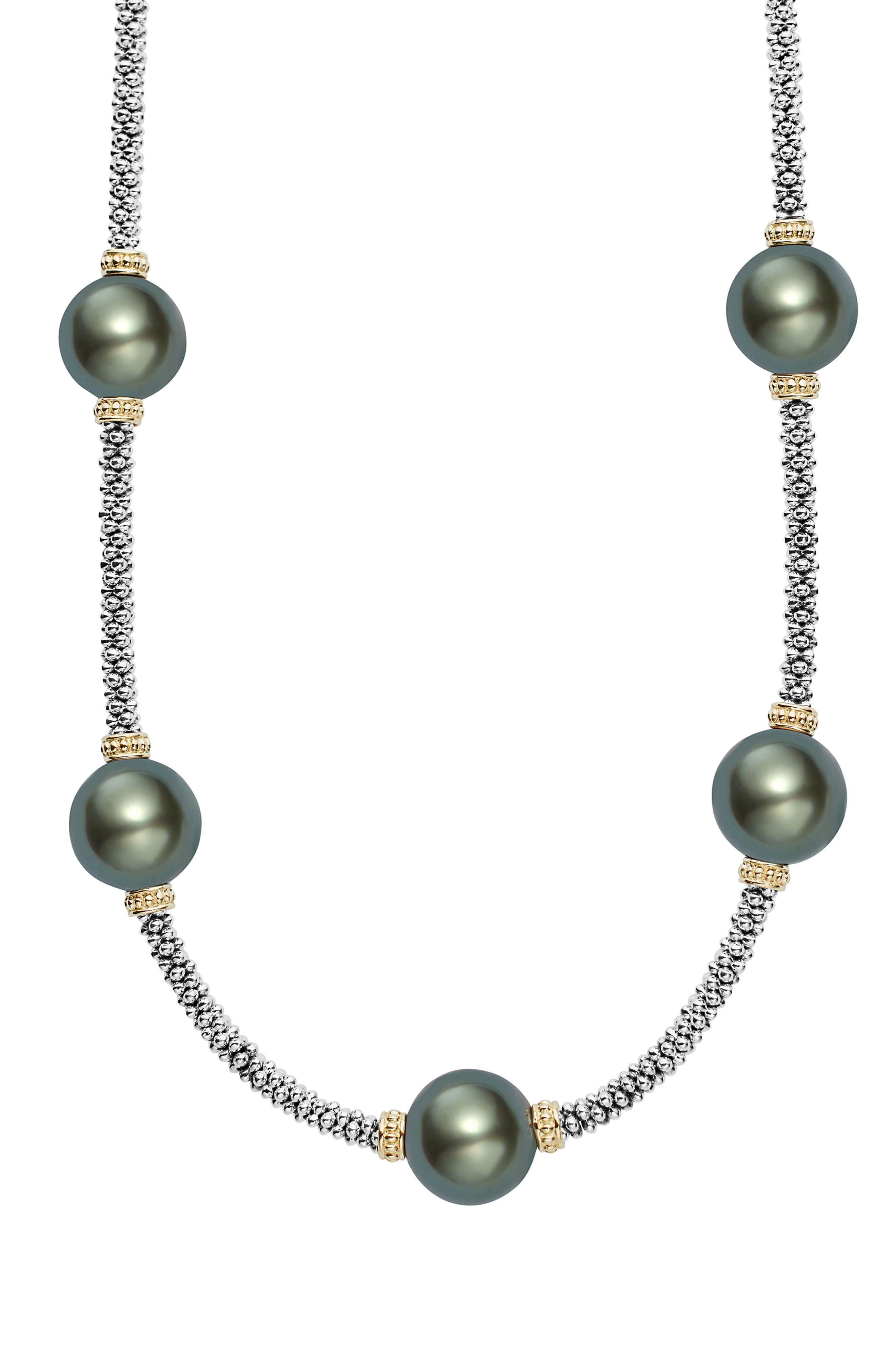 Luna Pearl Rope Necklace,                             Alternate thumbnail 3, color,