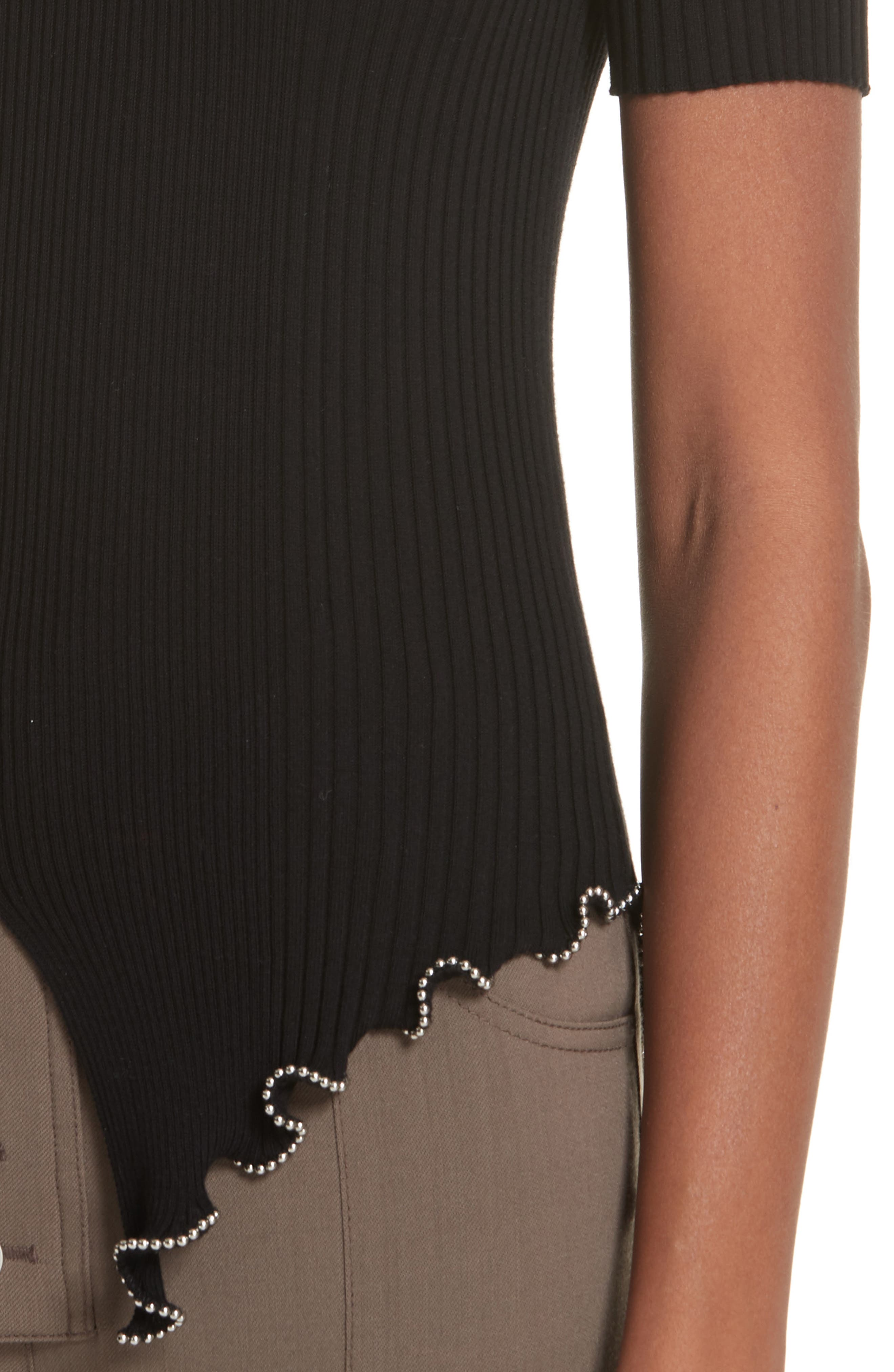Ball Chain Trim Ruffle Hem Top,                             Alternate thumbnail 4, color,                             BLACK
