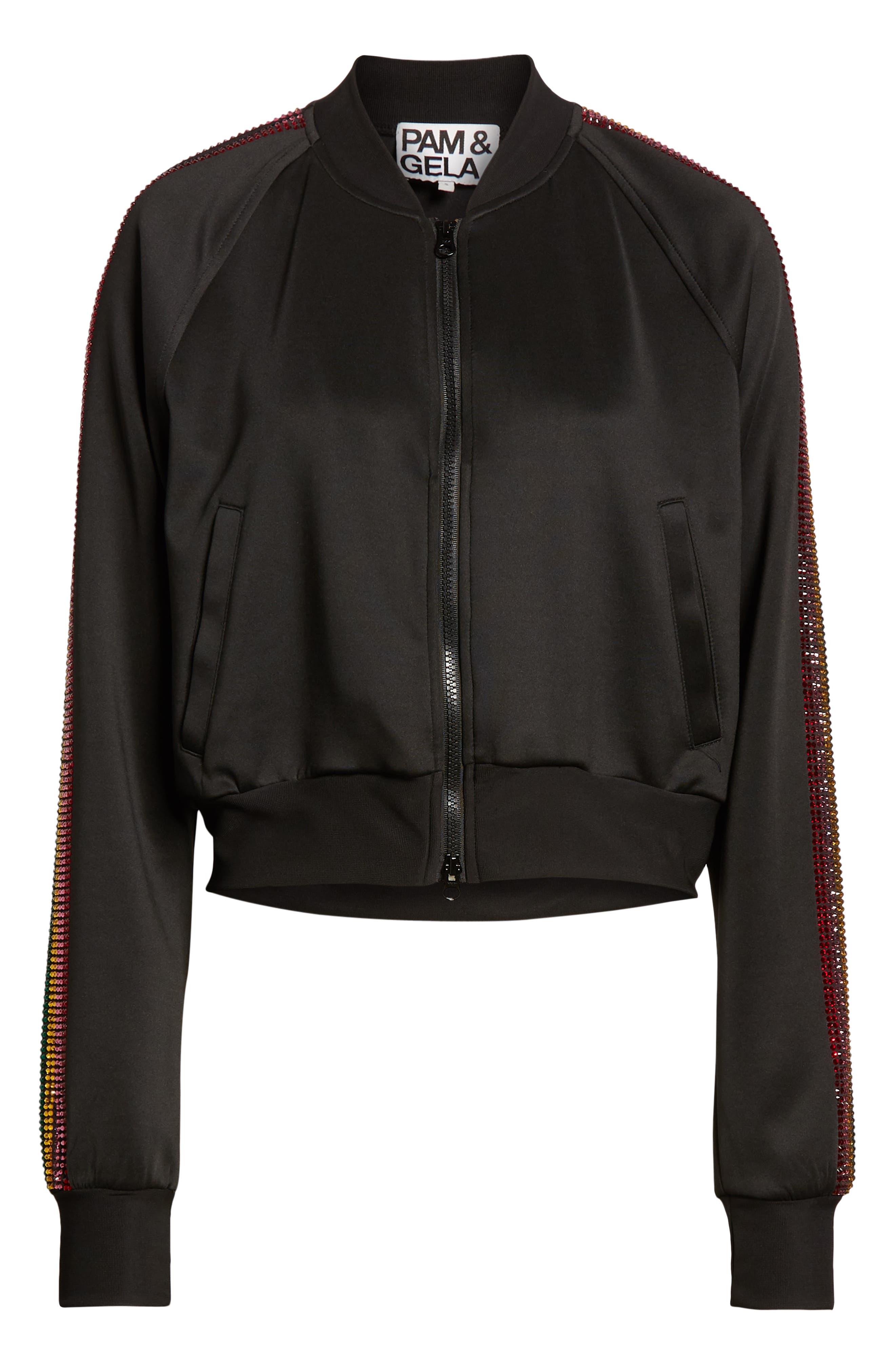 Sleeve Stripe Track Jacket,                             Alternate thumbnail 6, color,                             BLACK