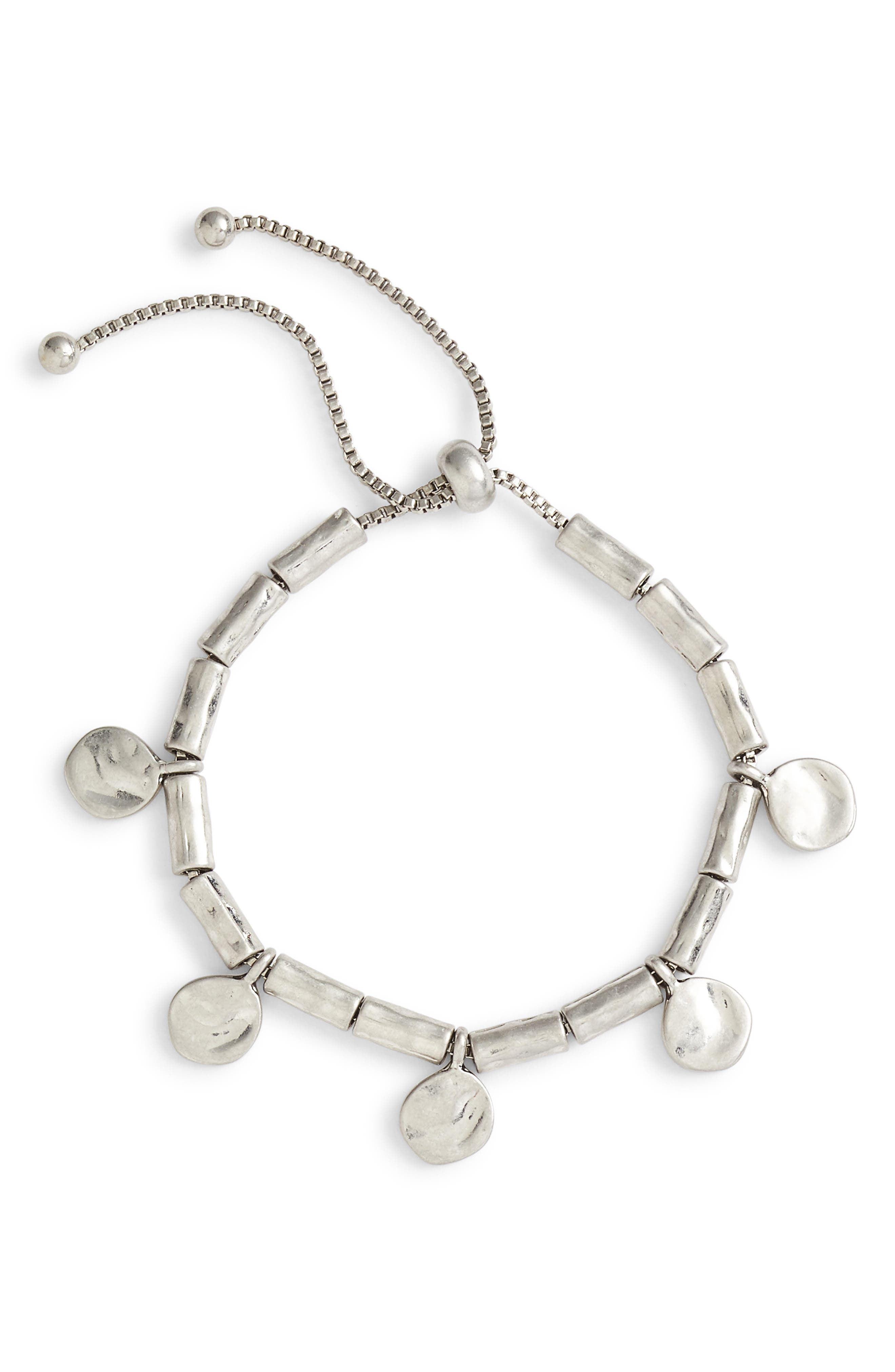 Organic Summer Metals Sliding Disc Bracelet,                             Main thumbnail 1, color,