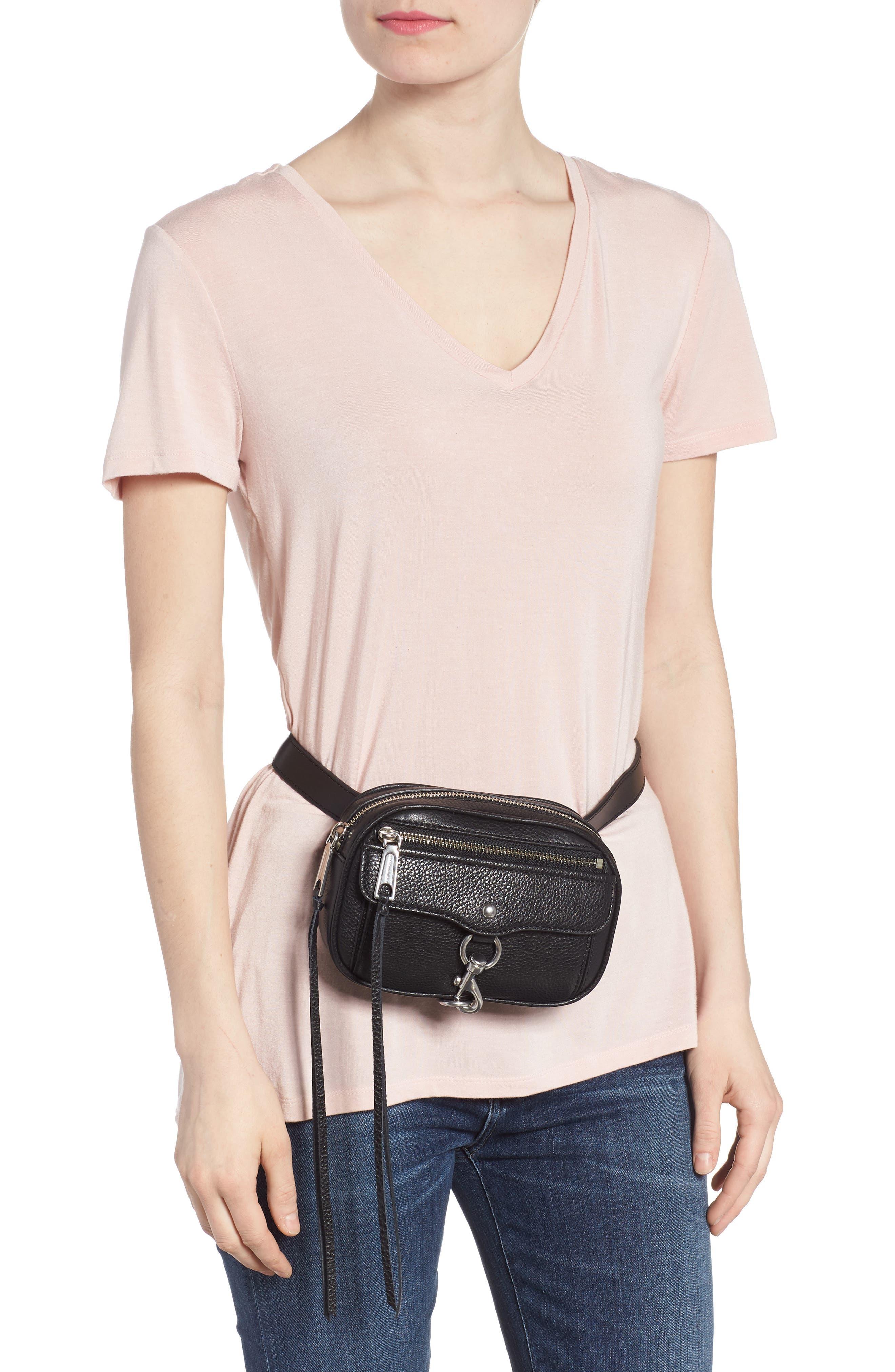 Blythe Leather Belt Bag,                             Alternate thumbnail 2, color,                             BLACK