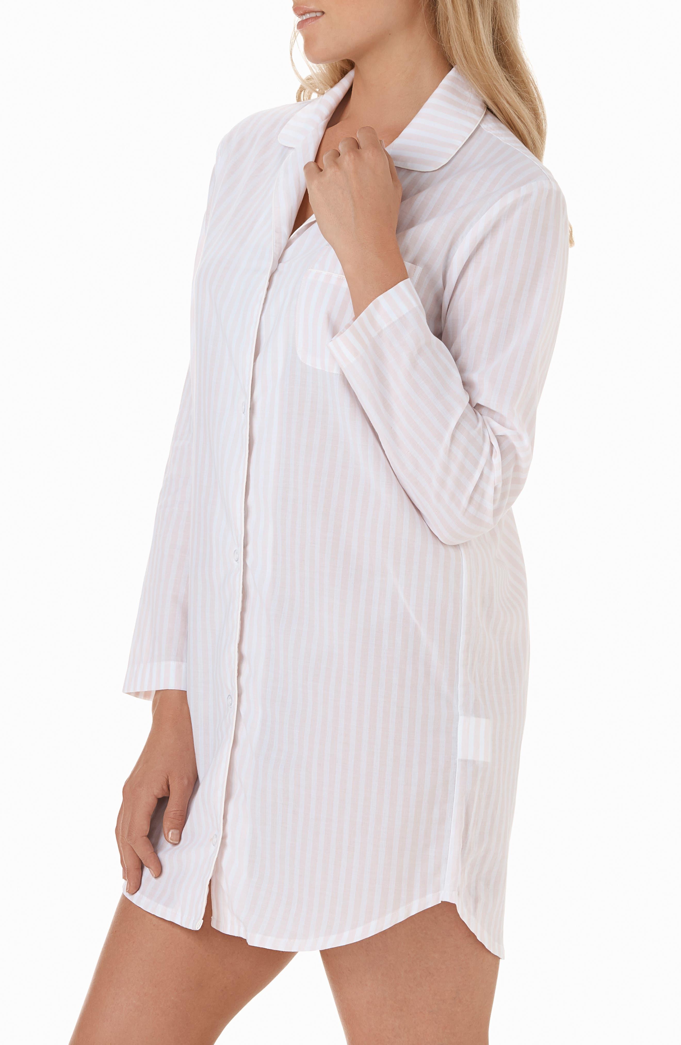 Stripe Cotton Sleep Shirt,                             Alternate thumbnail 3, color,                             PINK / WHITE STRIPE