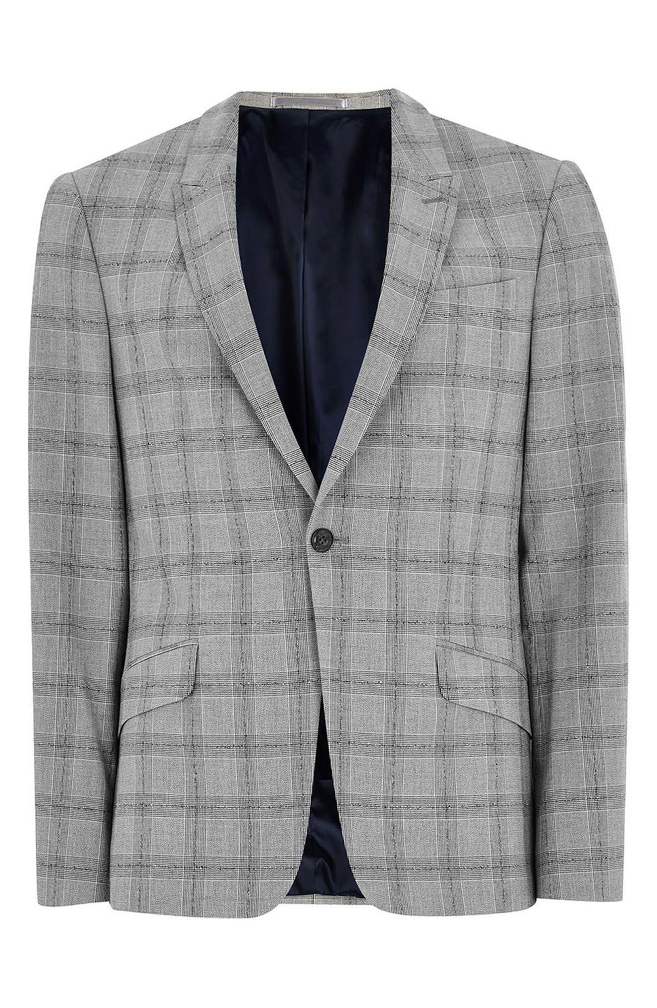 Check Suit Jacket,                             Alternate thumbnail 4, color,                             001