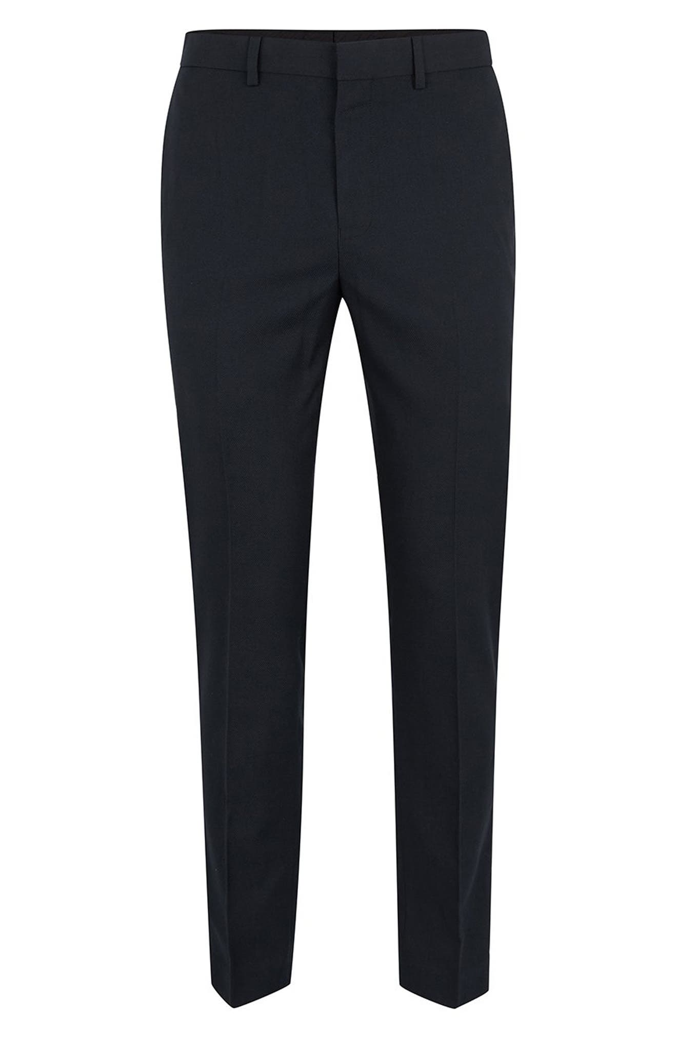 Skinny Fit Textured Trousers,                             Alternate thumbnail 4, color,                             401