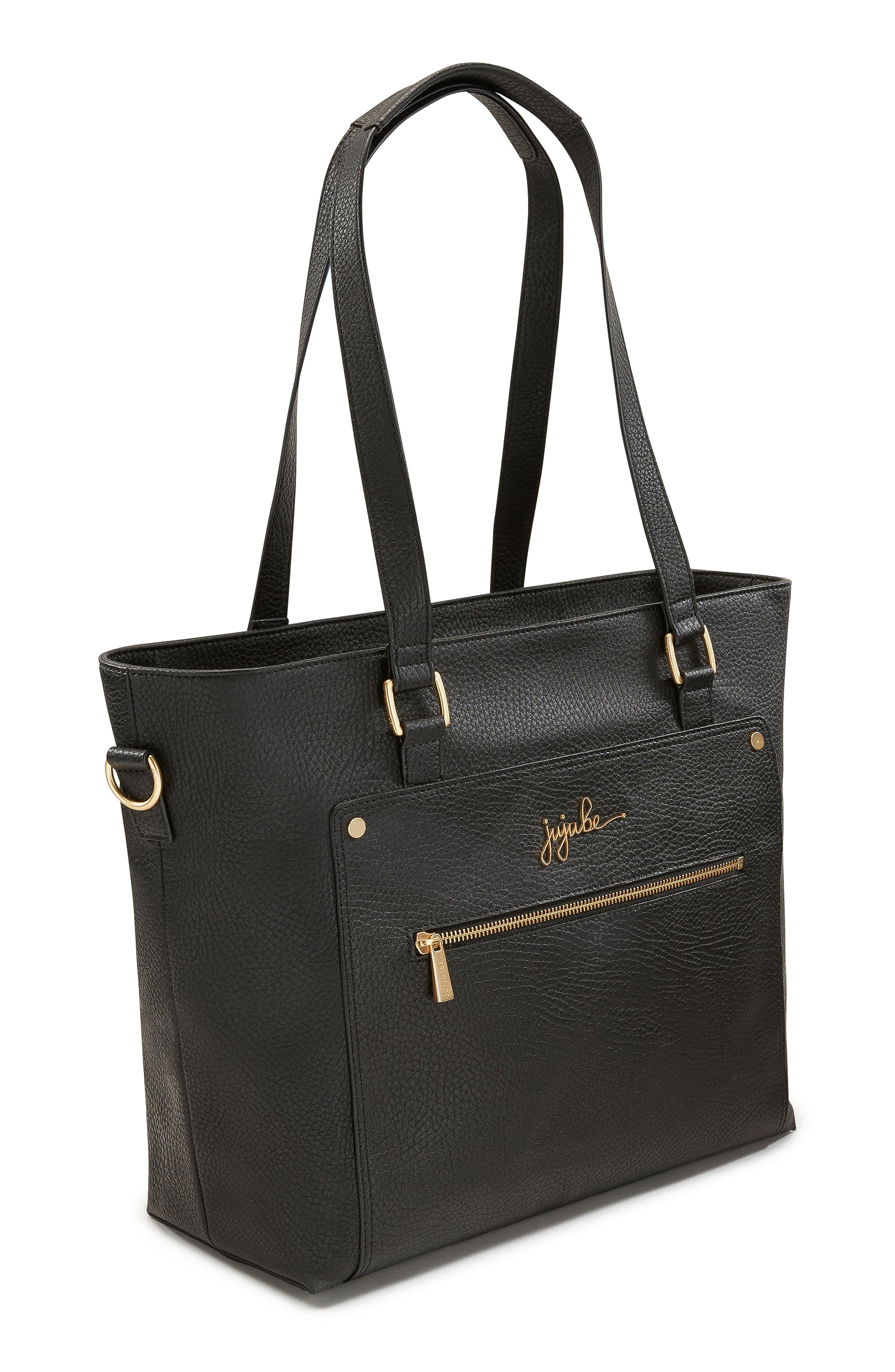 Ever Collection Everyday Faux Leather Diaper Tote,                             Alternate thumbnail 5, color,                             NOIR