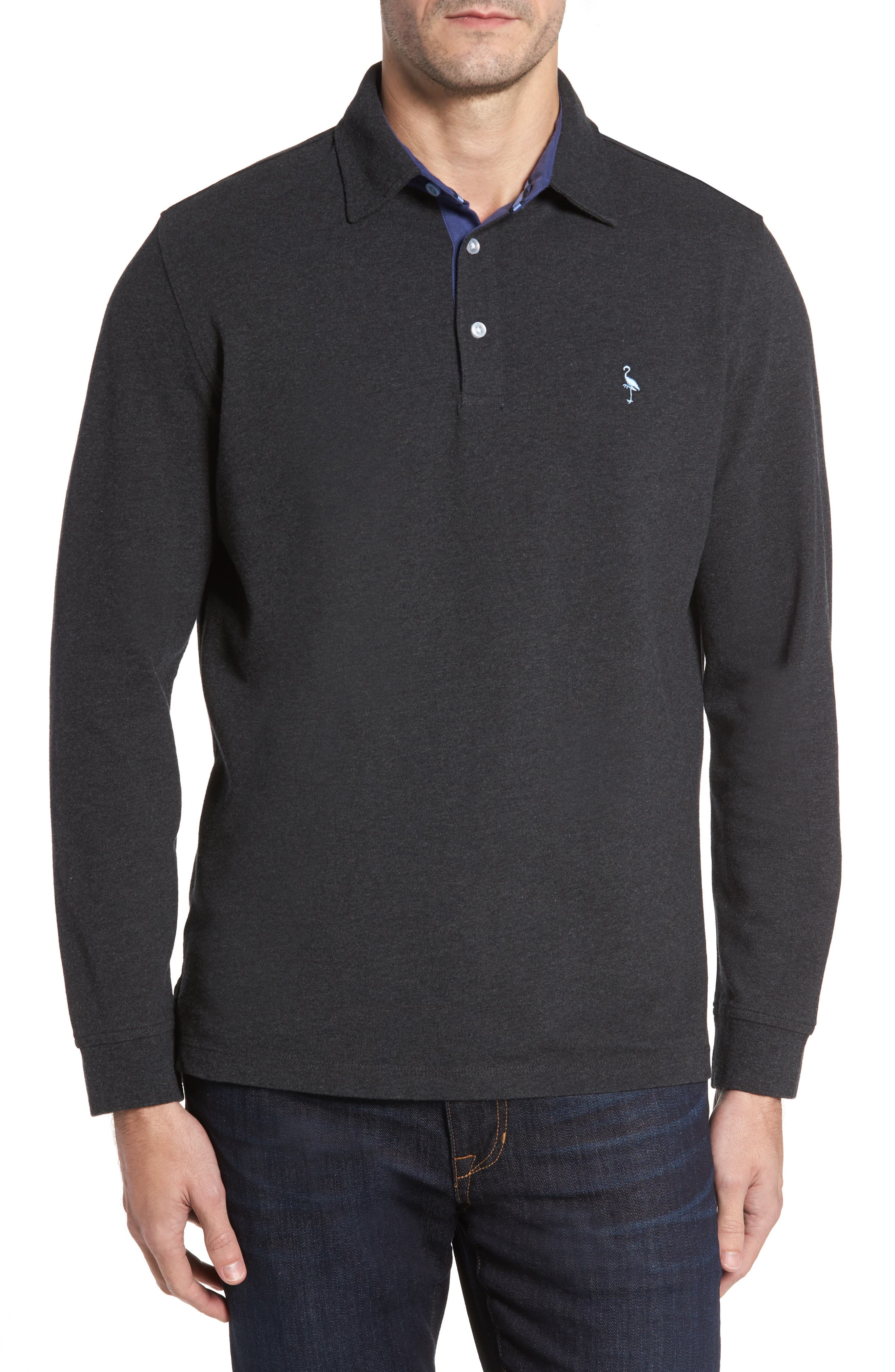Two-Tone Piqué Knit Polo,                             Main thumbnail 1, color,                             020