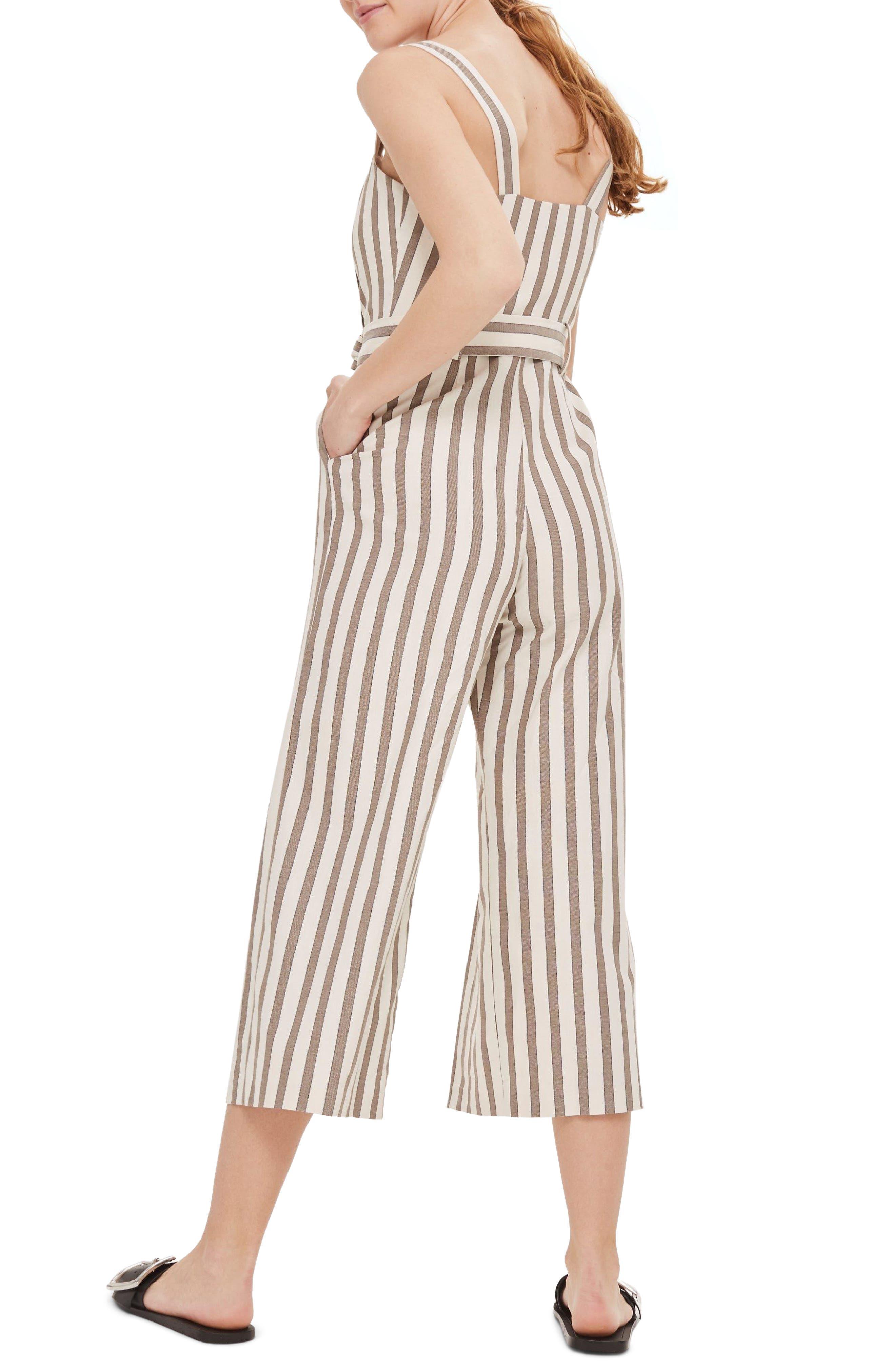 Button Stripe Cropped Jumpsuit,                             Alternate thumbnail 2, color,                             230