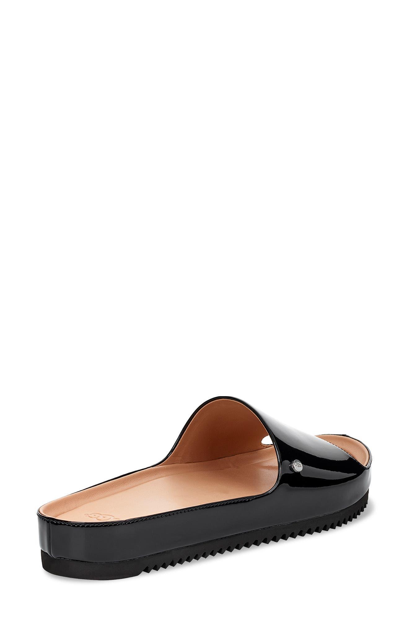 Jane Platform Slide Sandal,                             Alternate thumbnail 2, color,                             BLACK PATENT LEATHER