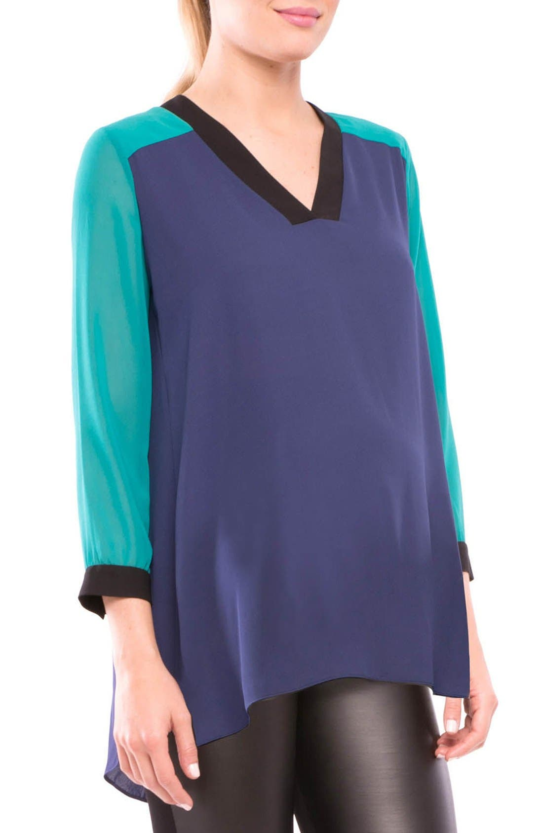 Leah Maternity Top,                             Alternate thumbnail 3, color,                             NAVY/ TEAL/ BLACK