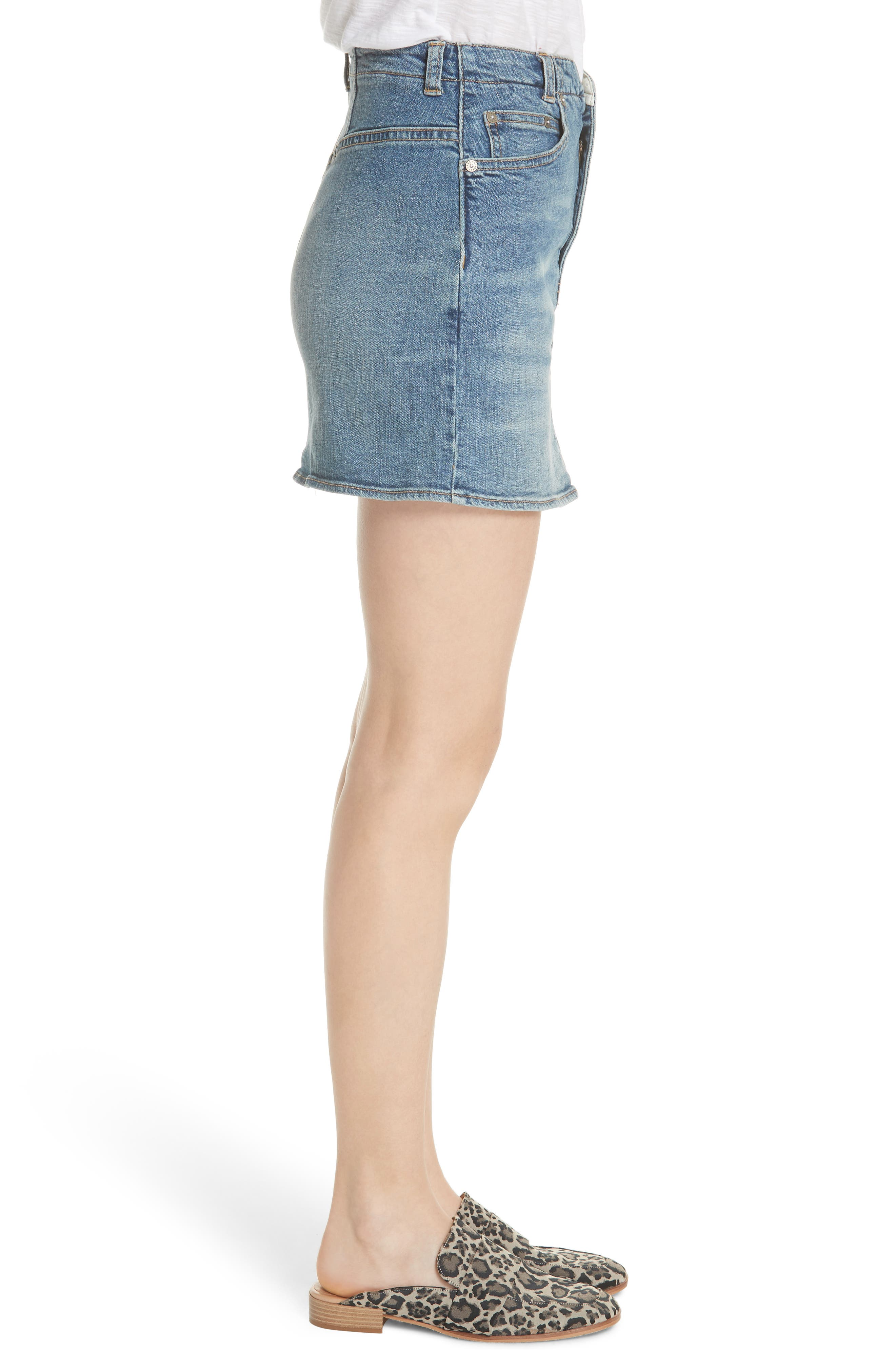 FREE PEOPLE,                             She's All That Denim Miniskirt,                             Alternate thumbnail 3, color,                             425
