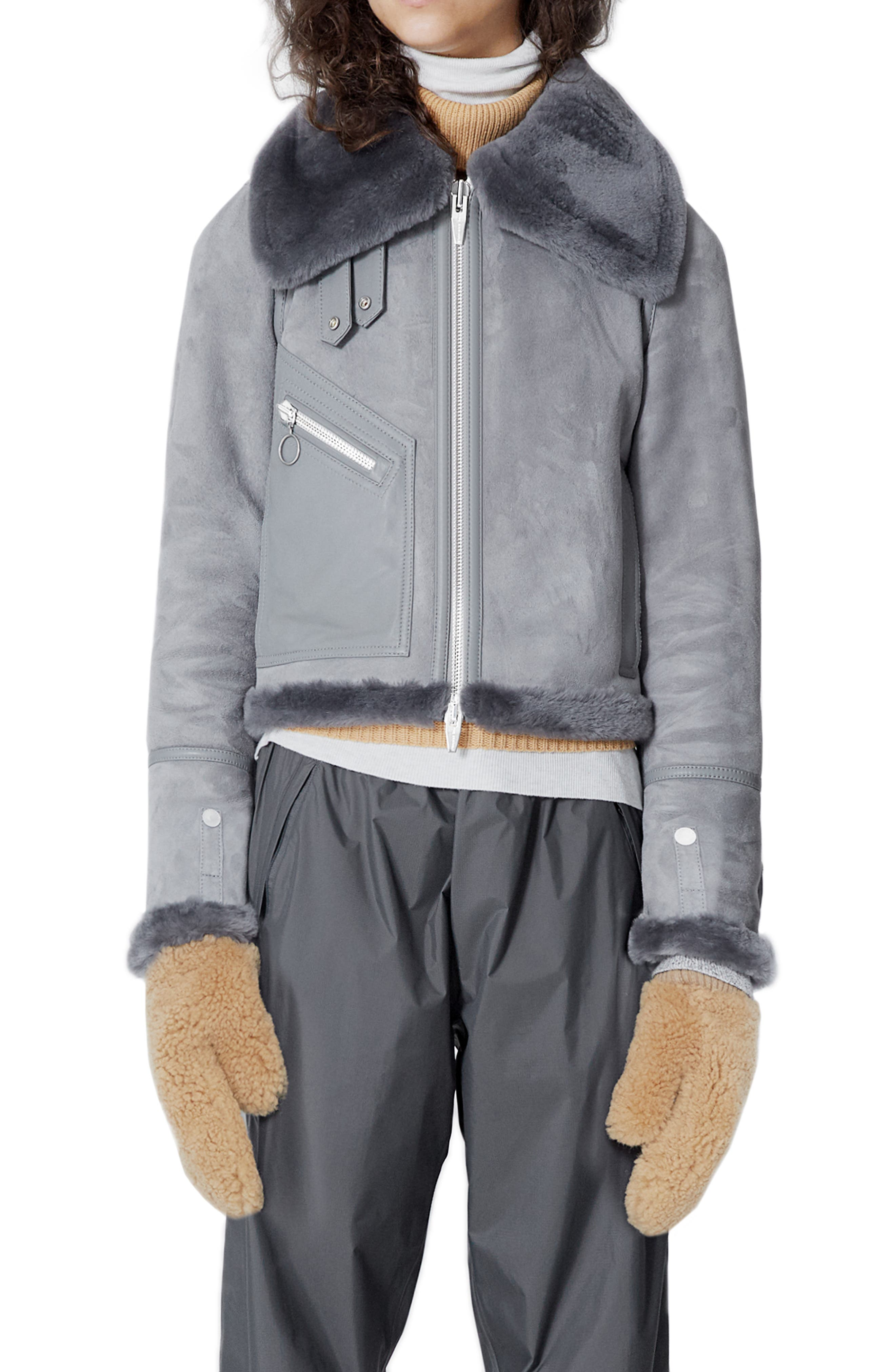 THE ARRIVALS Moya Mini Leather & Genuine Shearling Jacket in Gray
