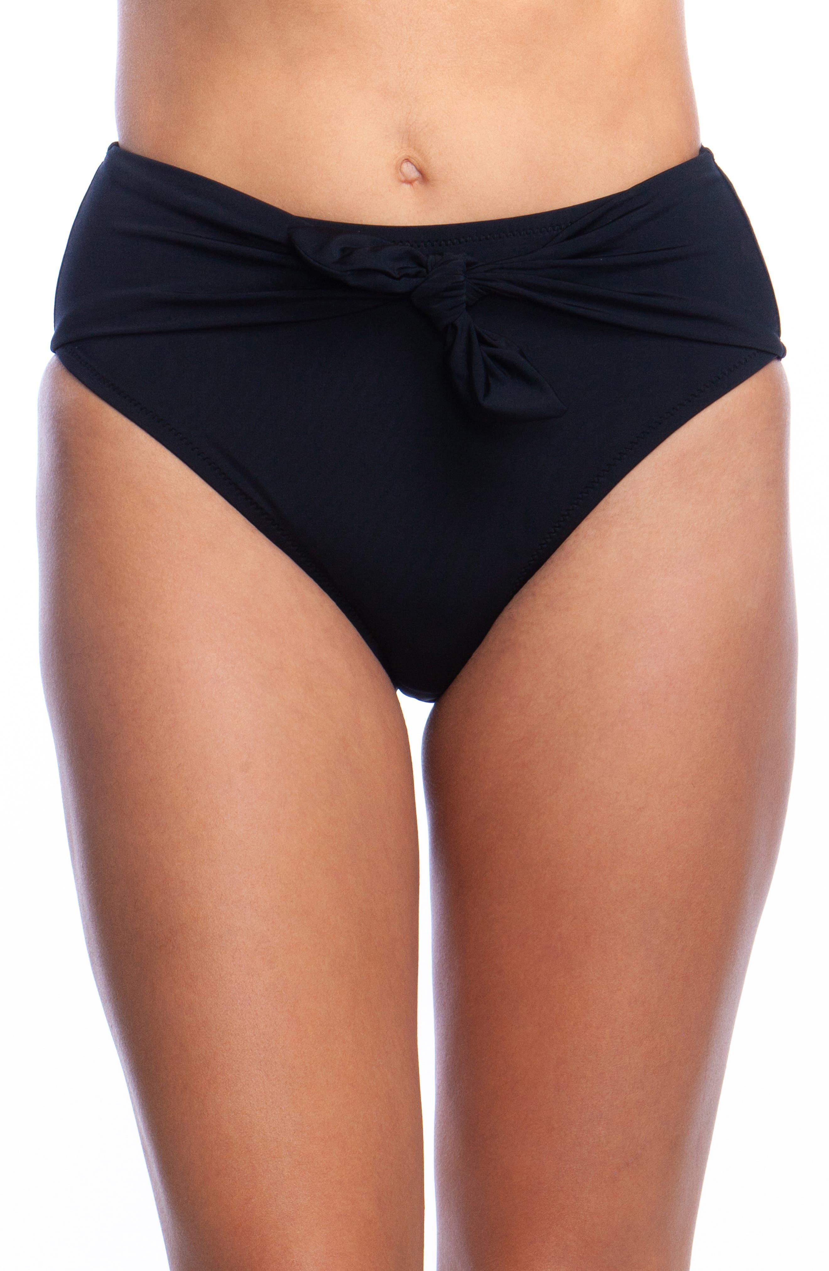 Getaway High Waist Bikini Bottoms,                             Main thumbnail 1, color,                             BLACK
