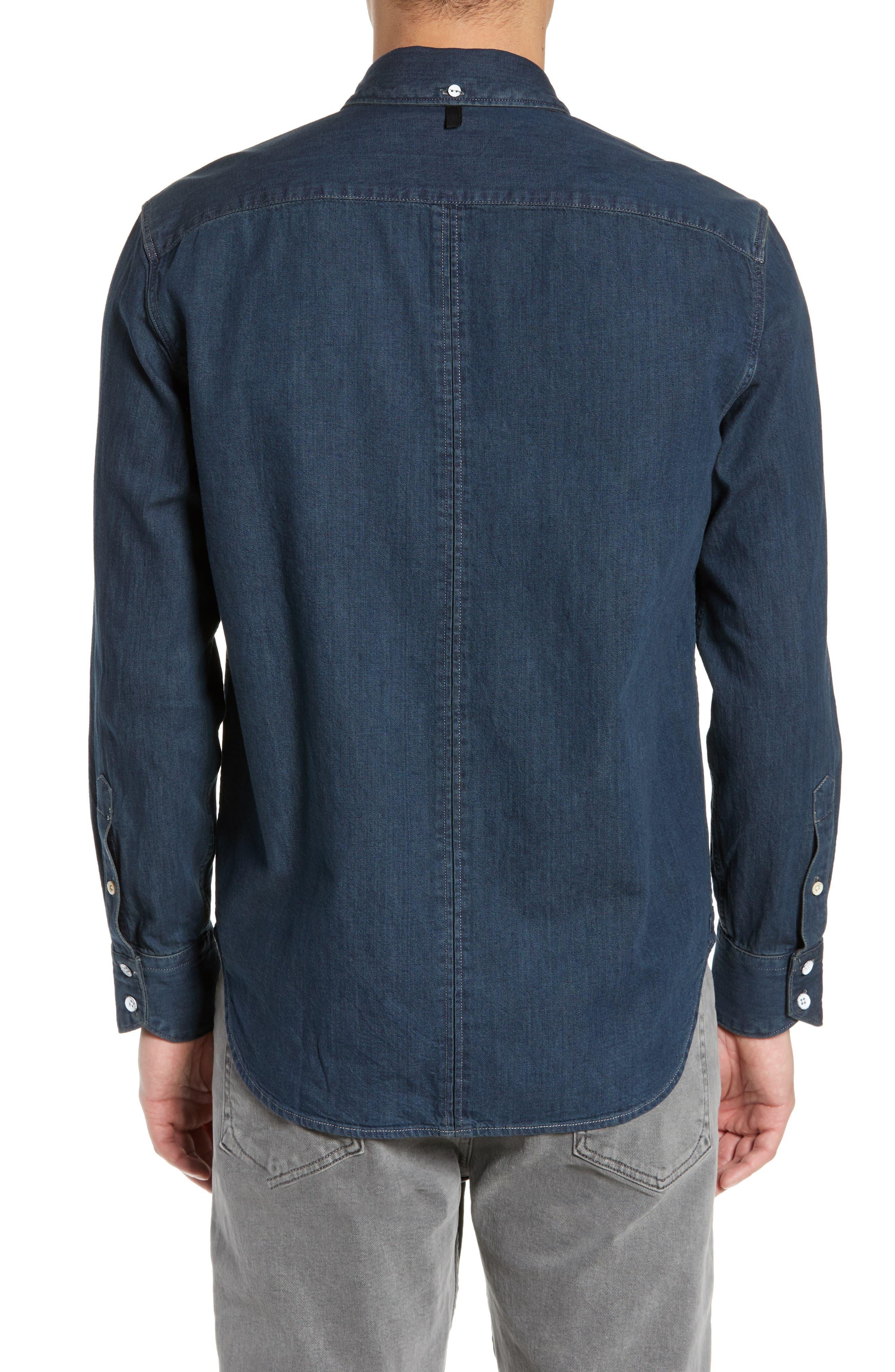 RAG & BONE,                             Fit 3 Denim Sport Shirt,                             Alternate thumbnail 3, color,                             STONE BLUE